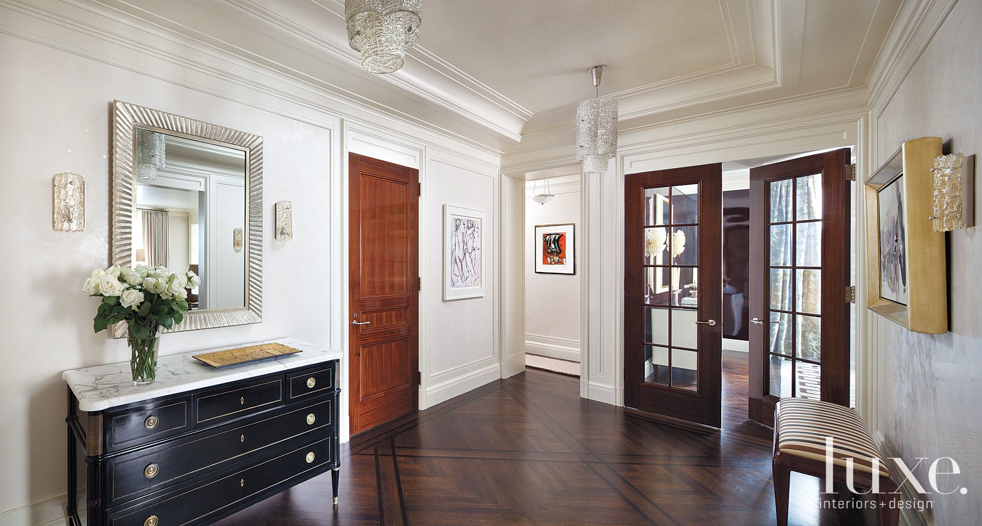 Traditional White Foyer with Geometric Parquet Floor