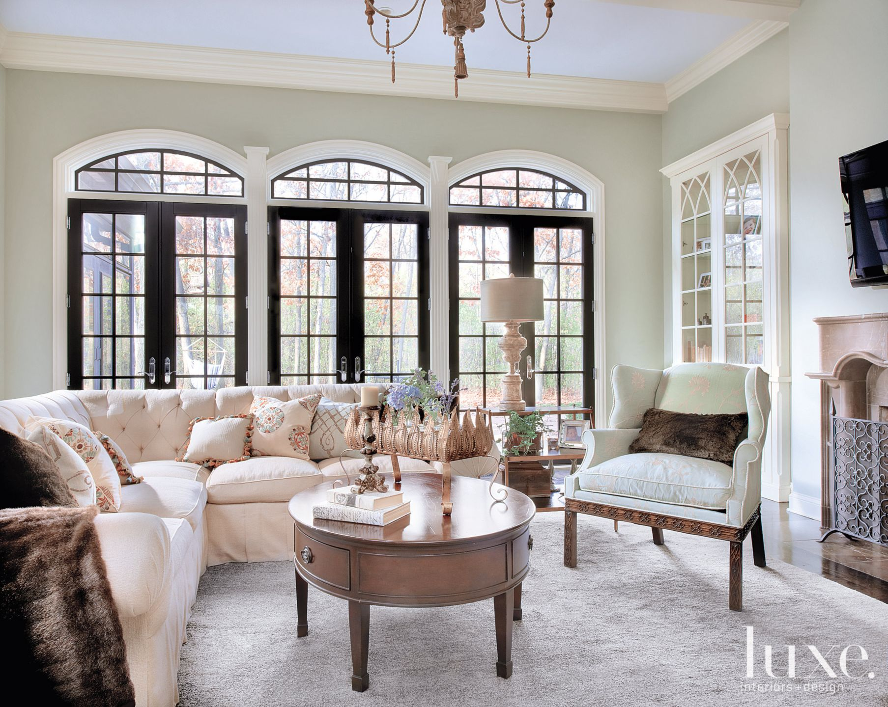 Traditional Green Living Room with Tufted Sectional
