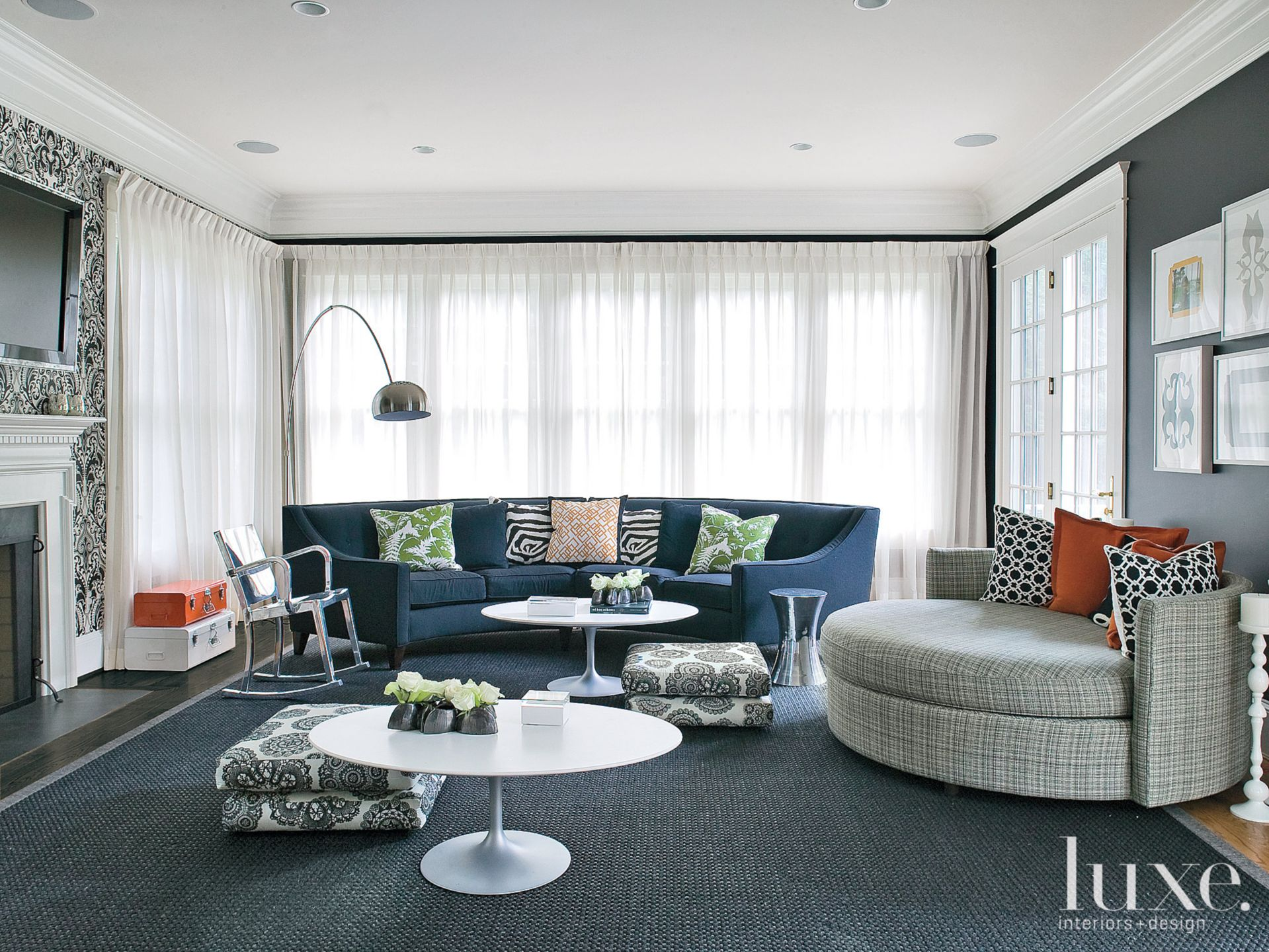 Blue Contemporary Family Room with Eclectic Accent Pillows