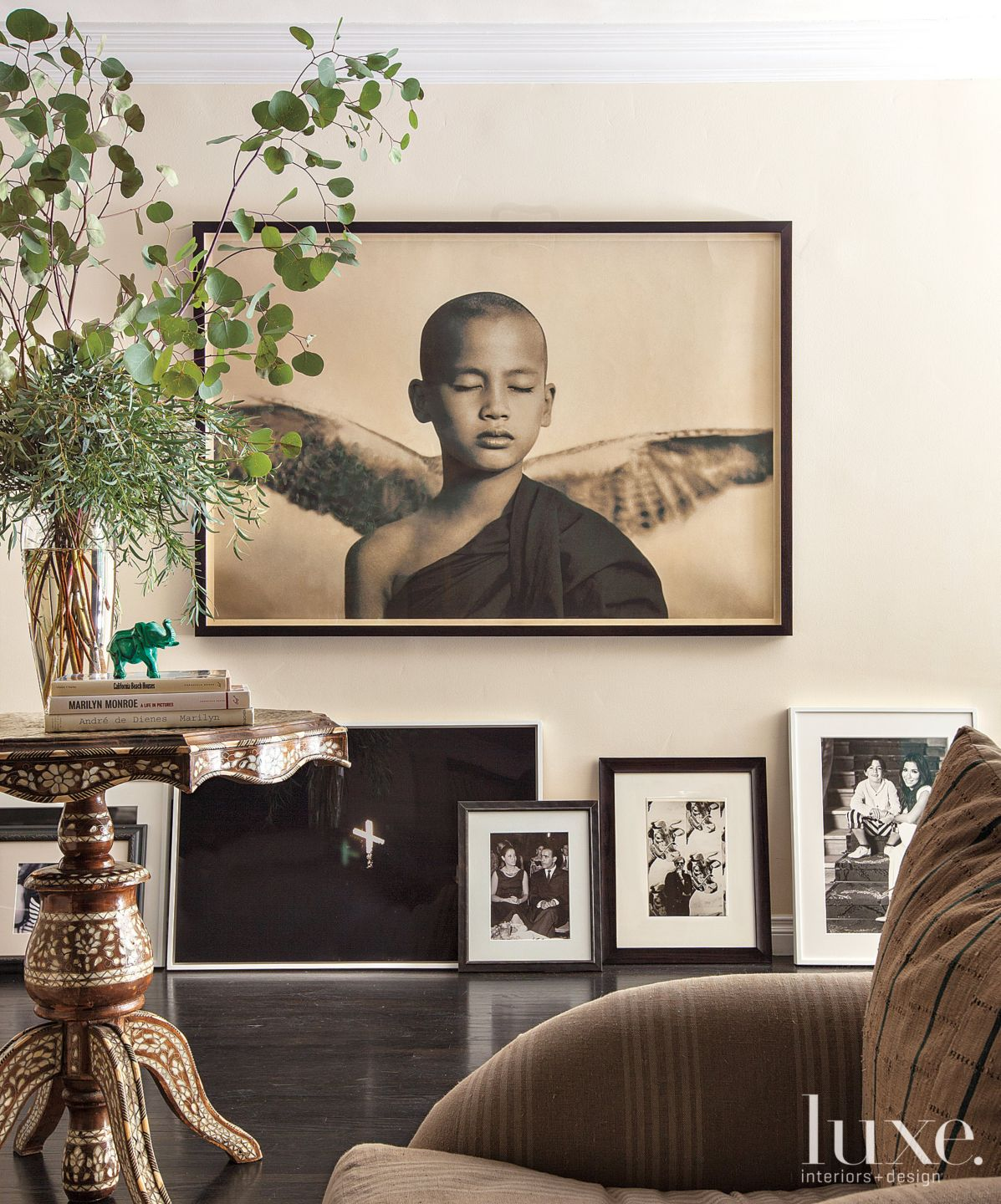 Eclectic Cream Family Room Art Display