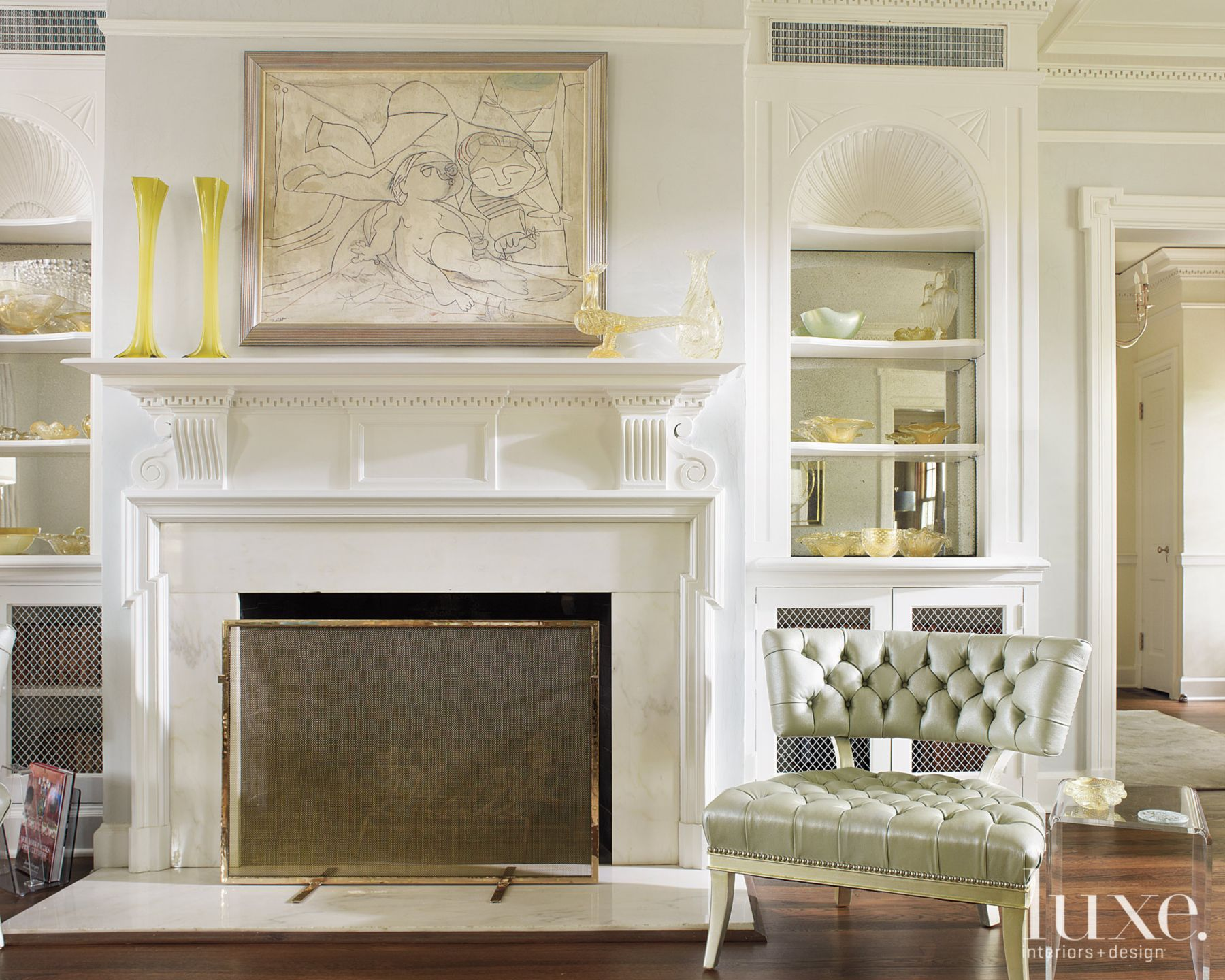 Neoclassic French-style Living Room Fireplace