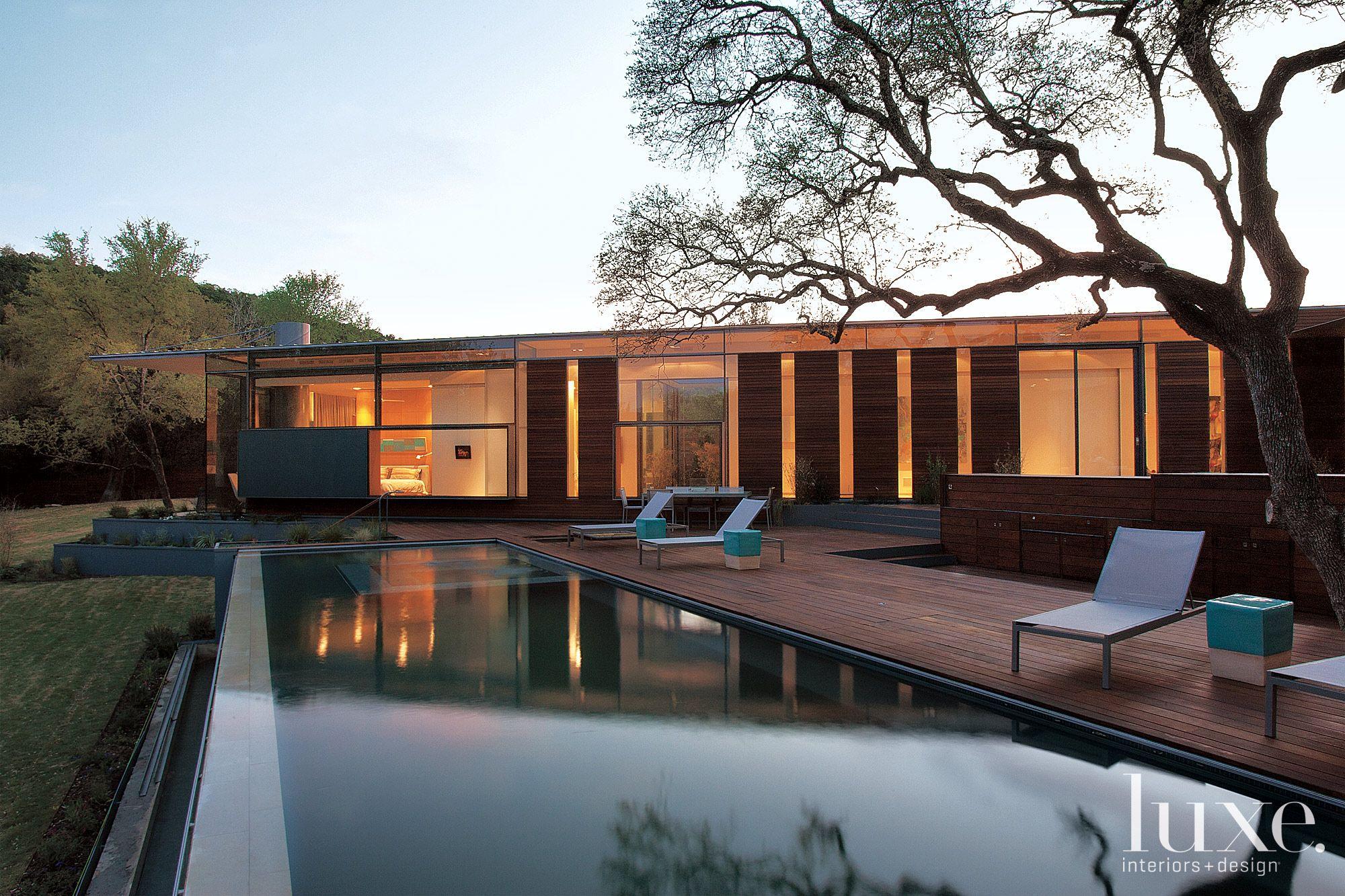 Contemporary Backyard Pool and Patio