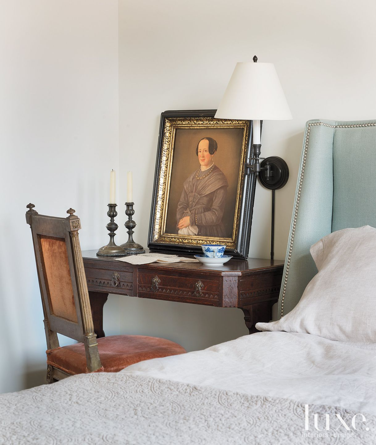 Transitional Neutral Bedroom with 19th Century European Pieces