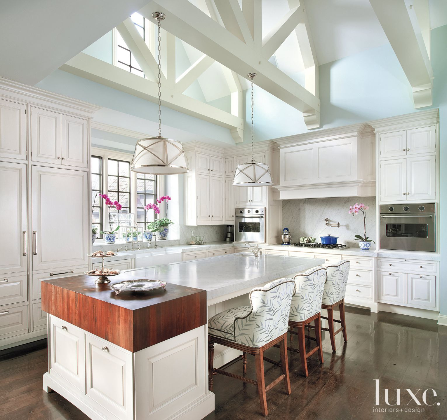 Traditional Blue Kitchen with Vaulted Ceiling