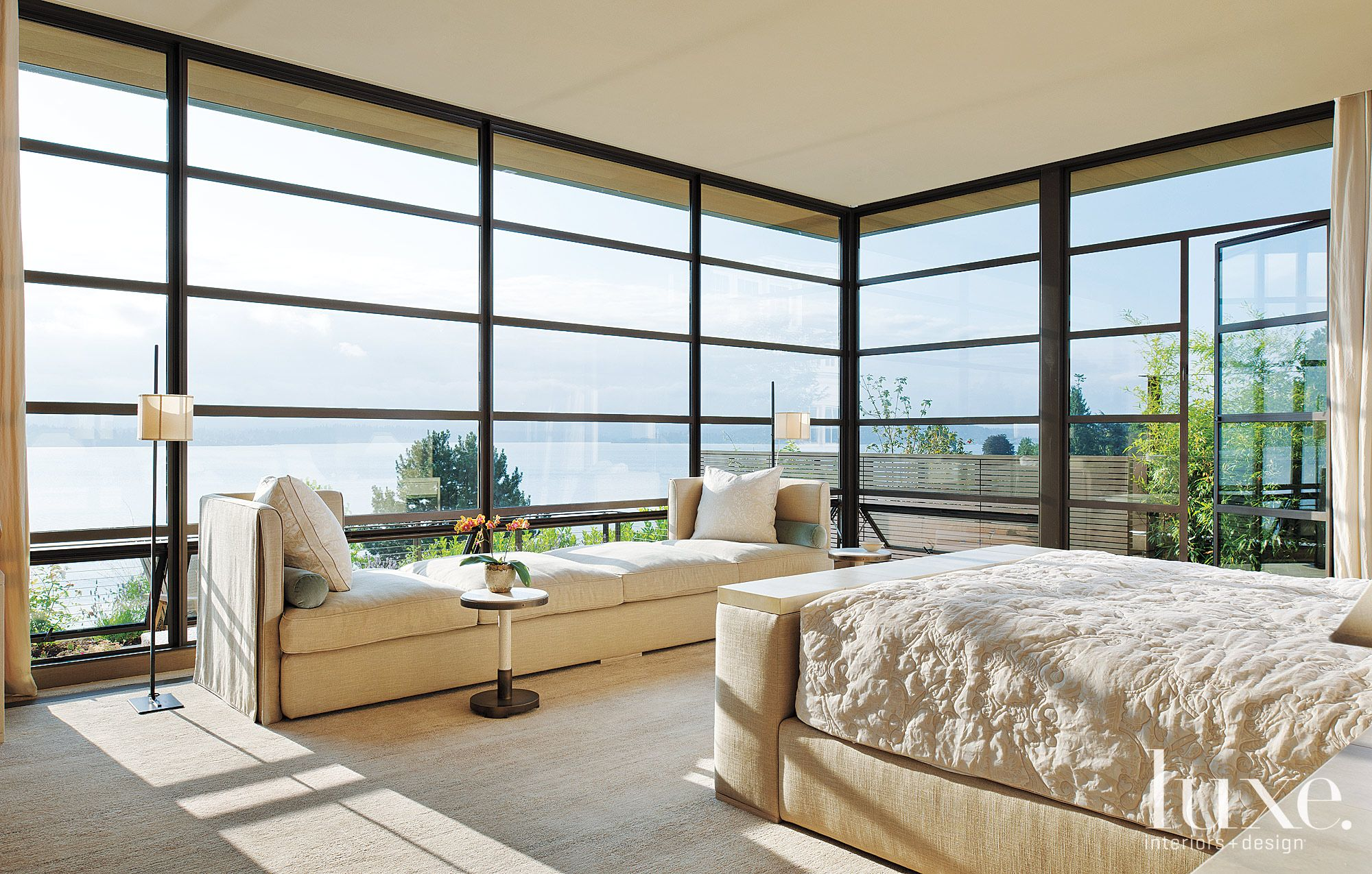 Contemporary Cream Master Bedroom with Lakefront Views