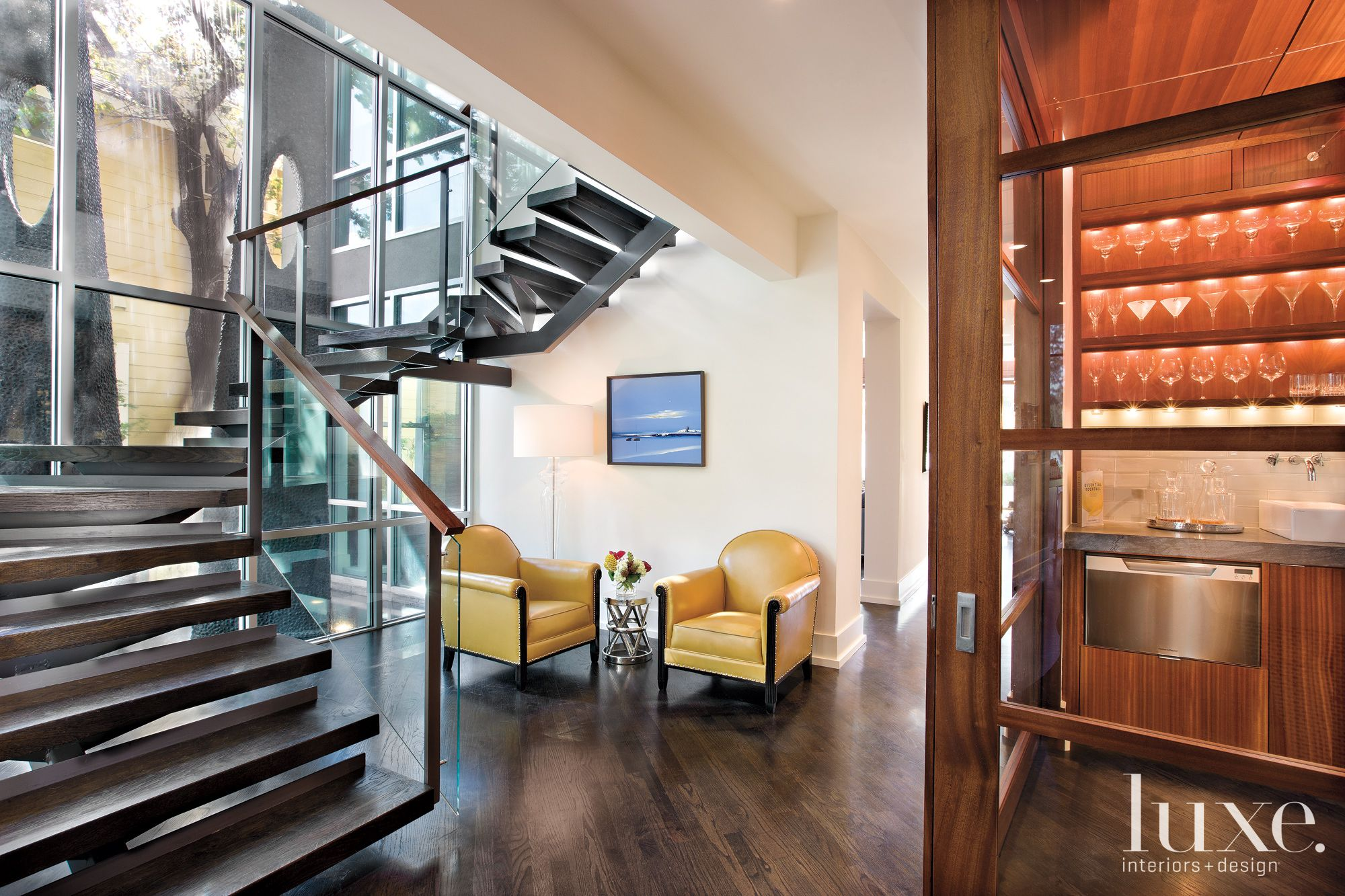 Modern Glass and Sapele Staircase