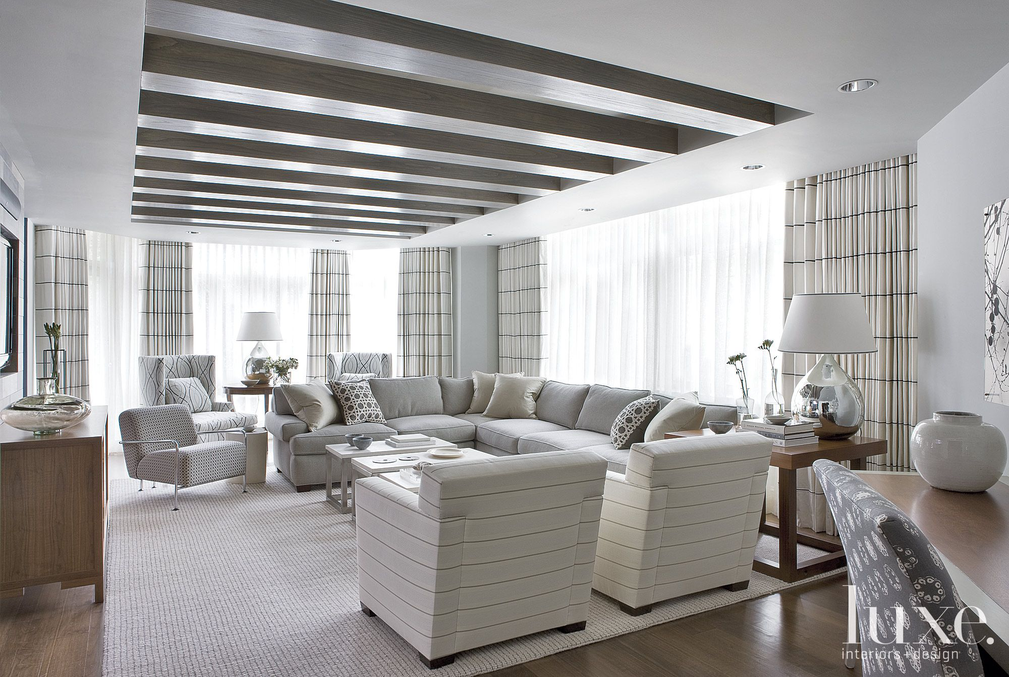 Contemporary Gray Living Room with Striped Decor
