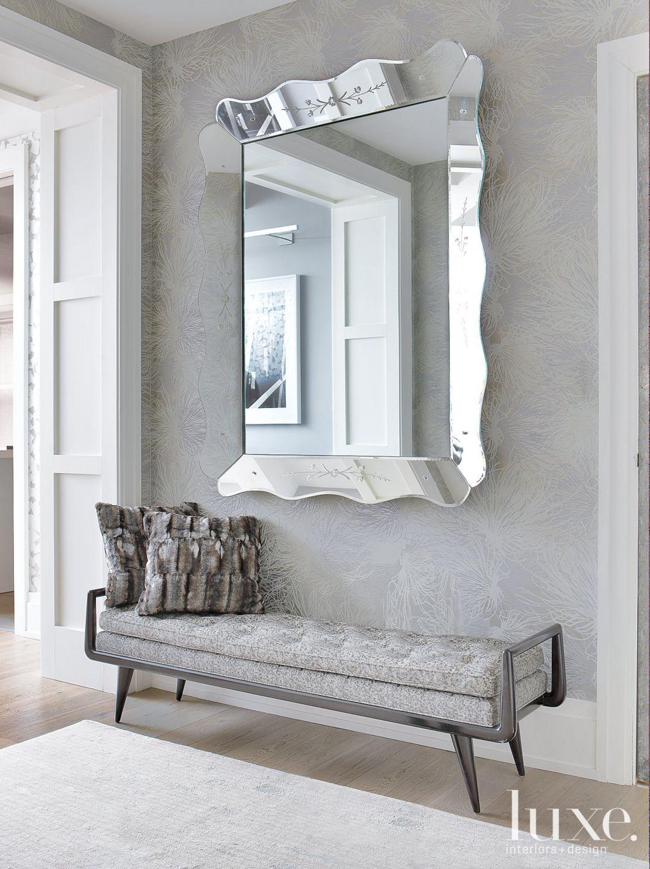 Modern Gray Foyer Statement Mirror