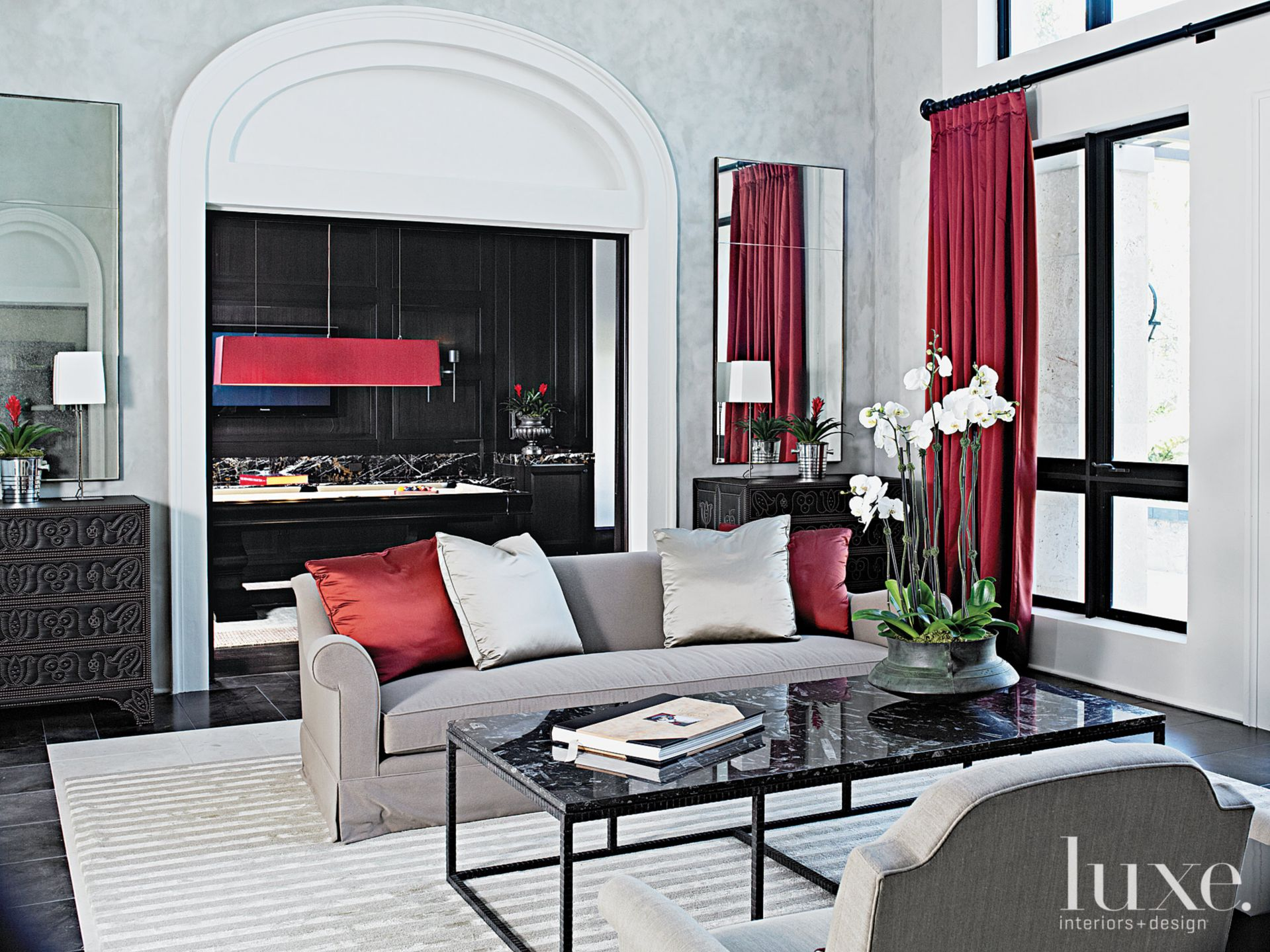 Contemporary Gray Living Room with Red Accents