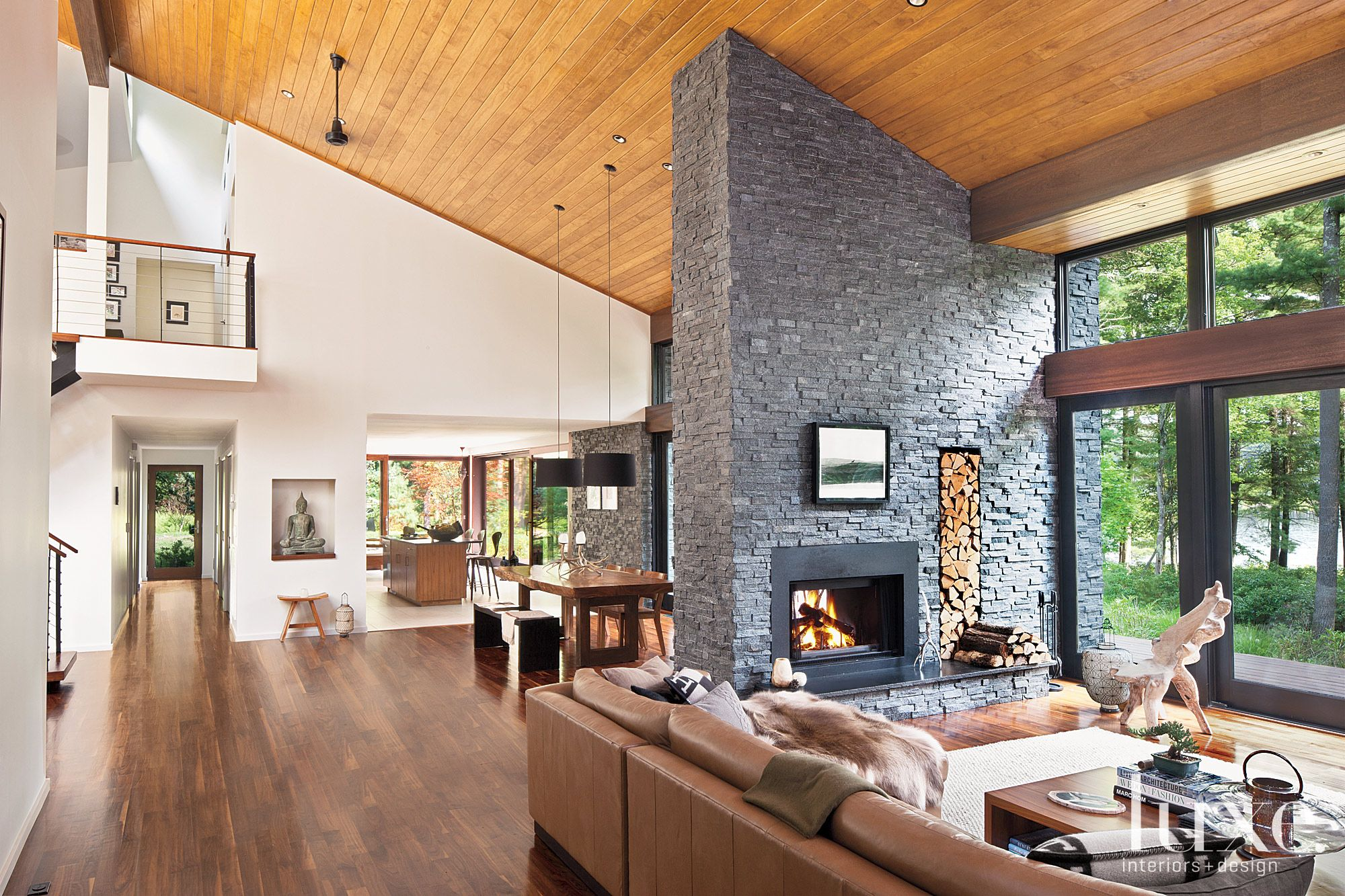 Neutral Contemporary Interior with Fireplace