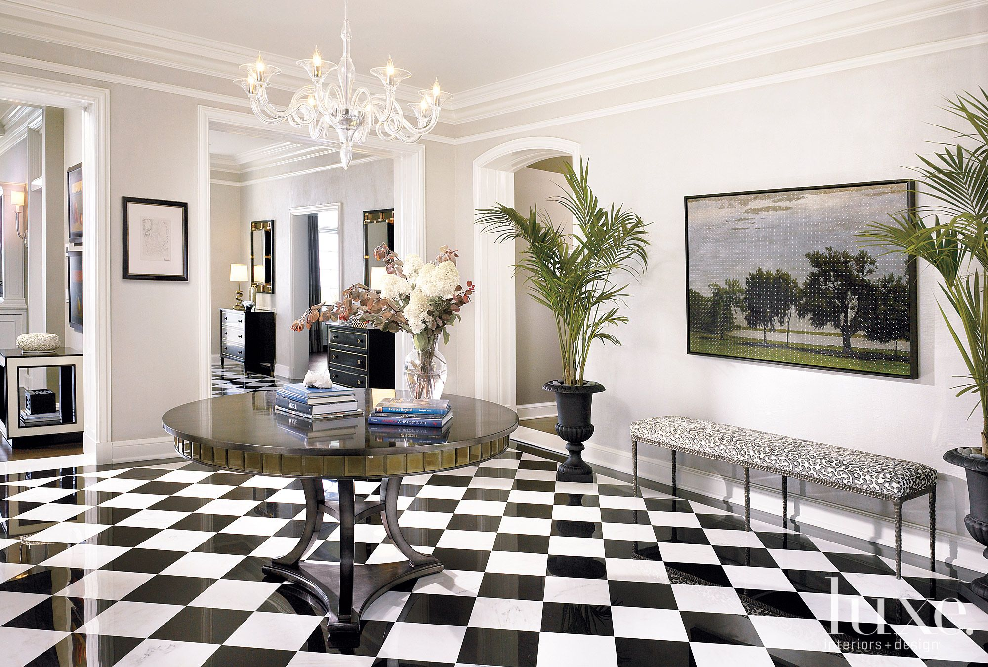 Contemporary White Foyer with Checkered Tile Floors