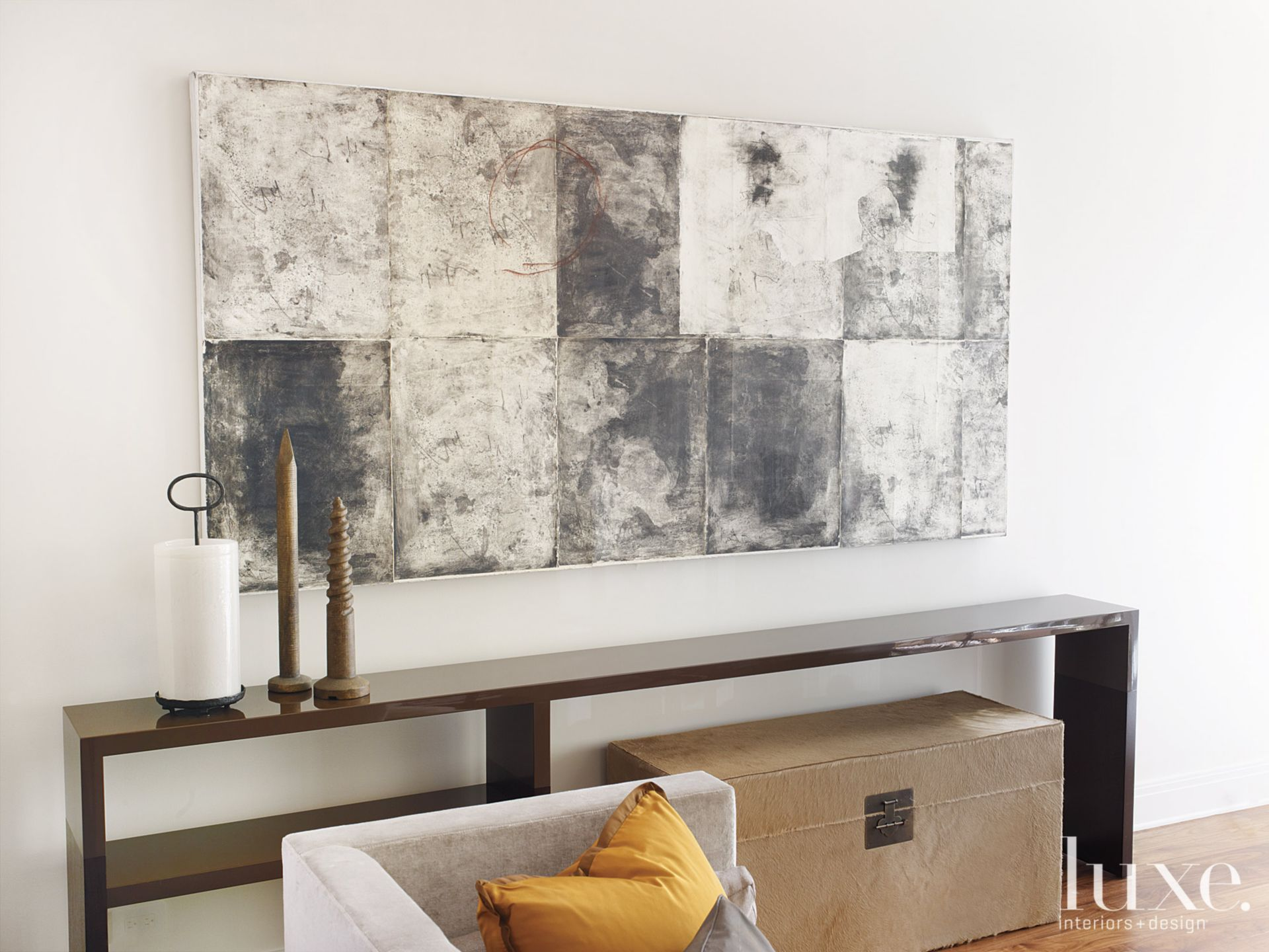 Contemporary White Living Room Vignette with Long Console