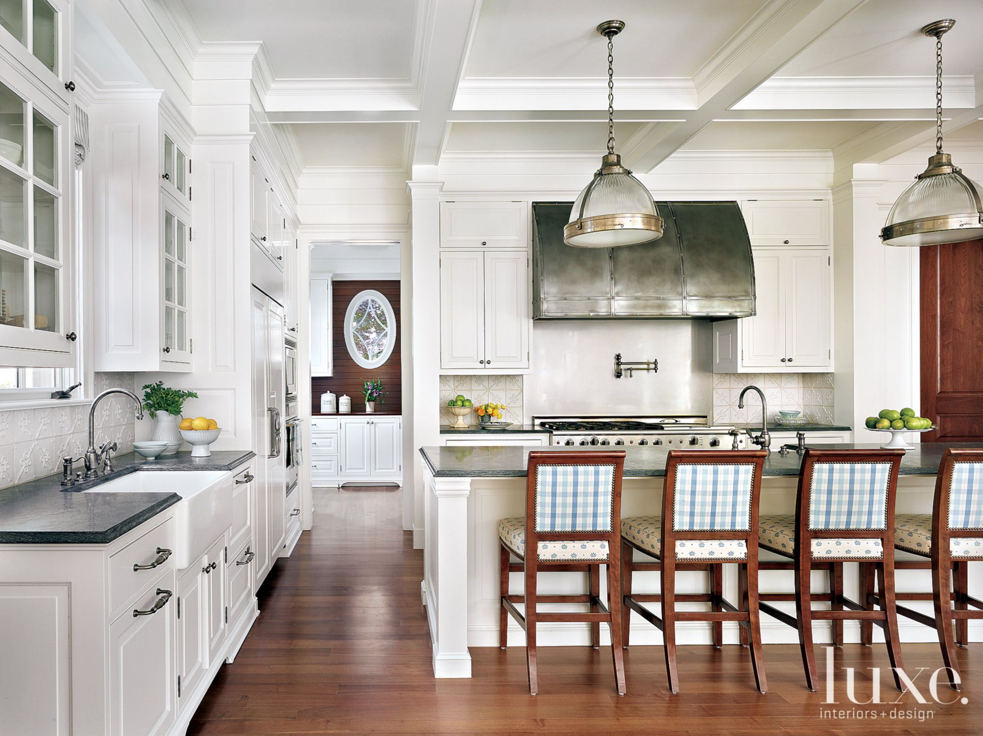 Traditional White Kitchen with Plaid Barstools