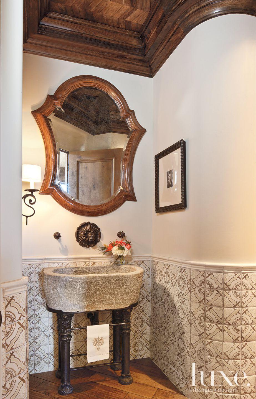 Mediterranean Tiled Powder Room