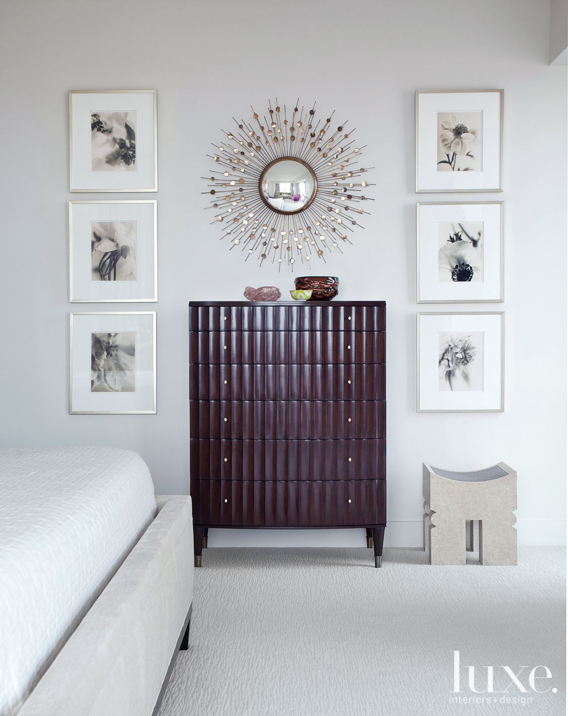 Contemporary White Master Bedroom Vignette with Gallery Wall