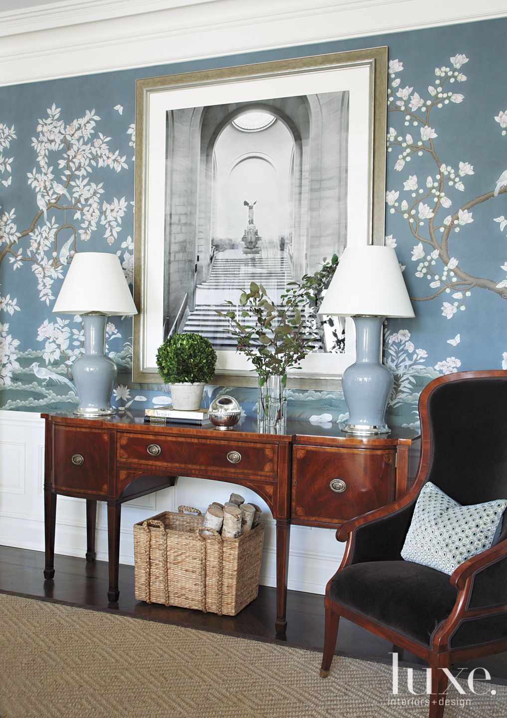 Traditional Blue Dining Room with Antique Sideboard