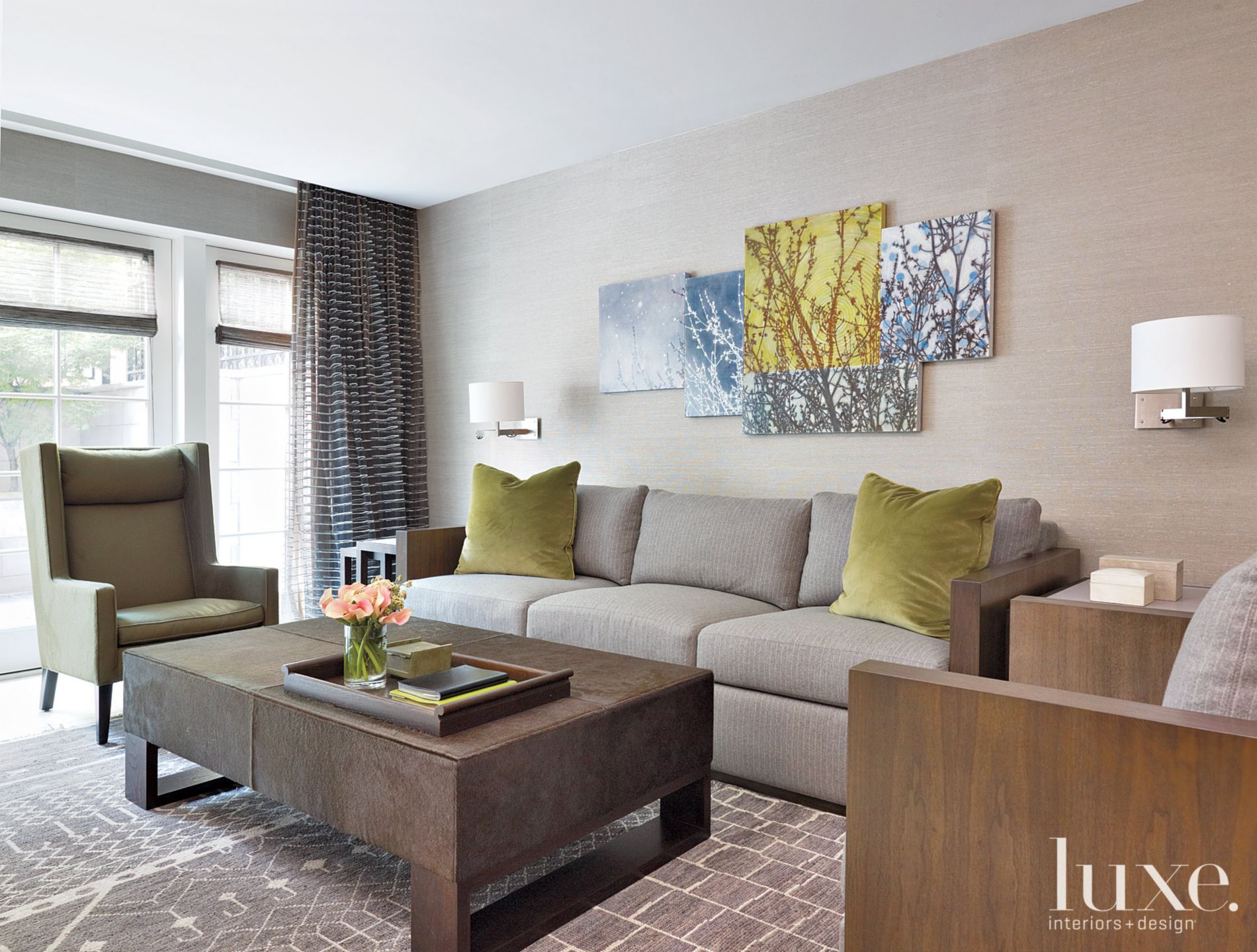 Contemporary Neutral Media Room with Wooden Arm Chair