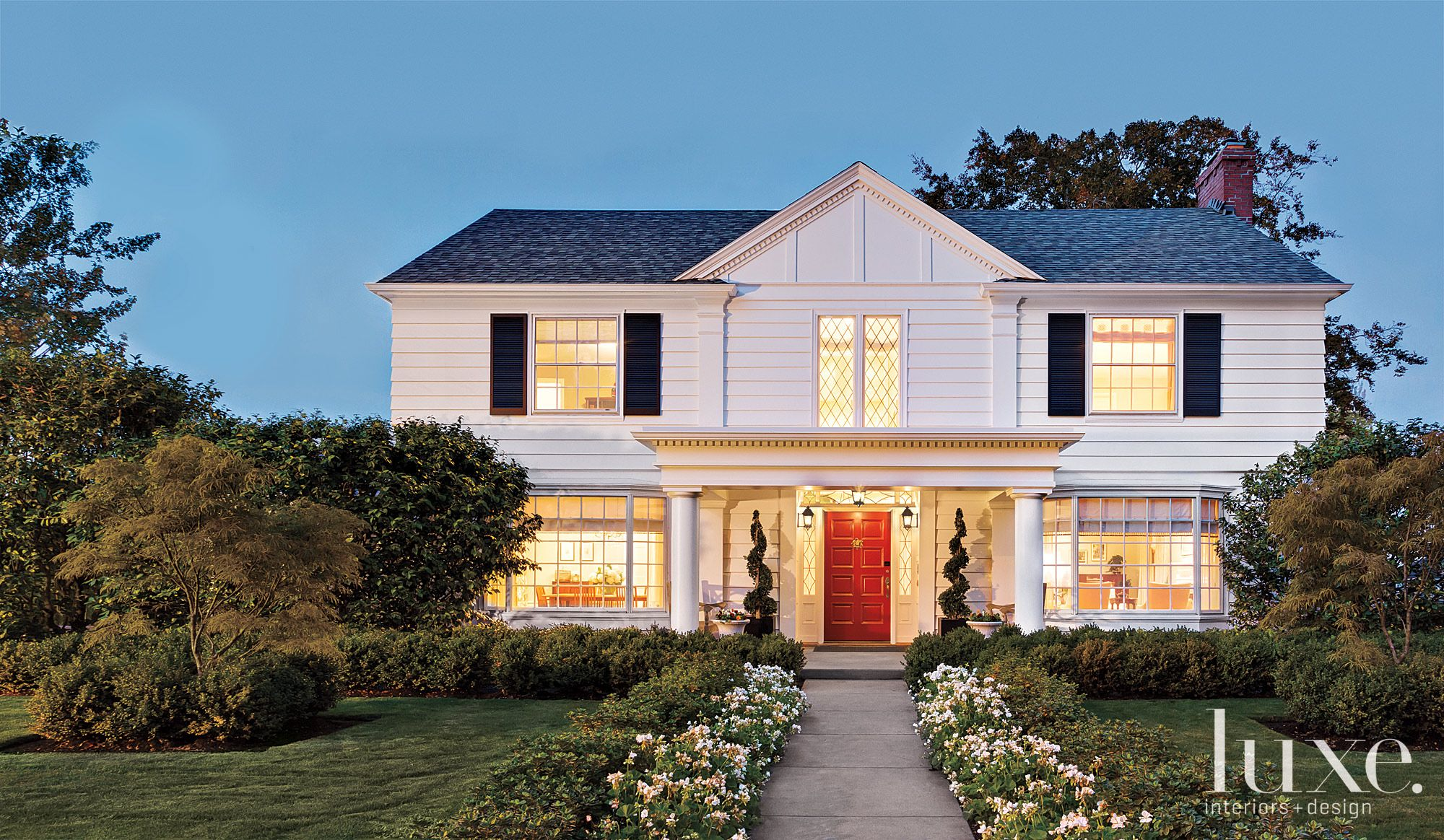 Transitional White Front Elevation with Red Front Door
