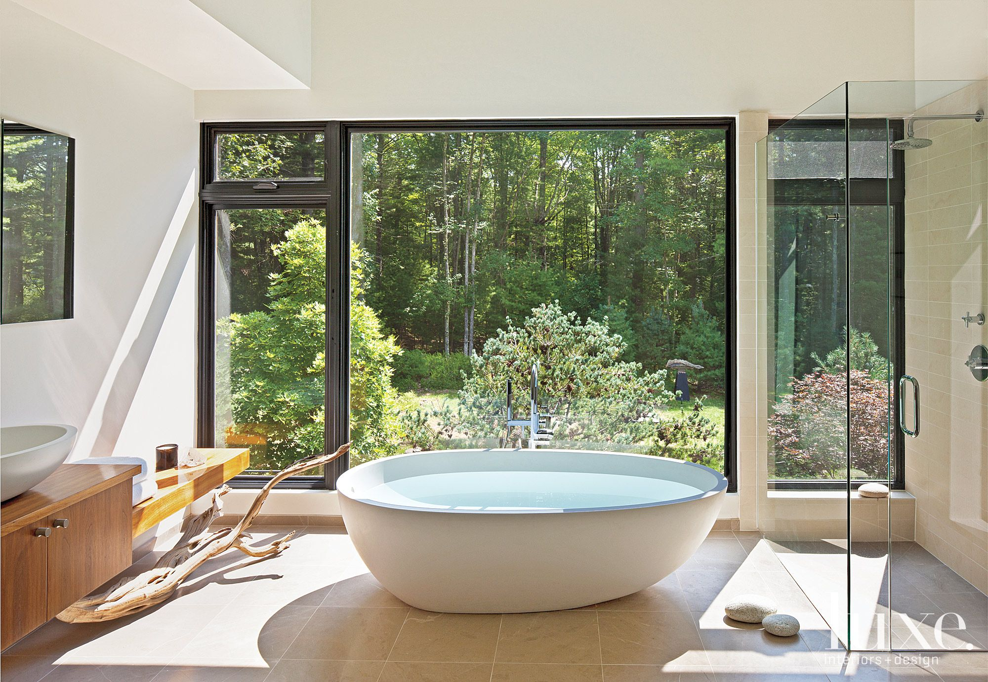 Contemporary Master Bathroom with Forest Views