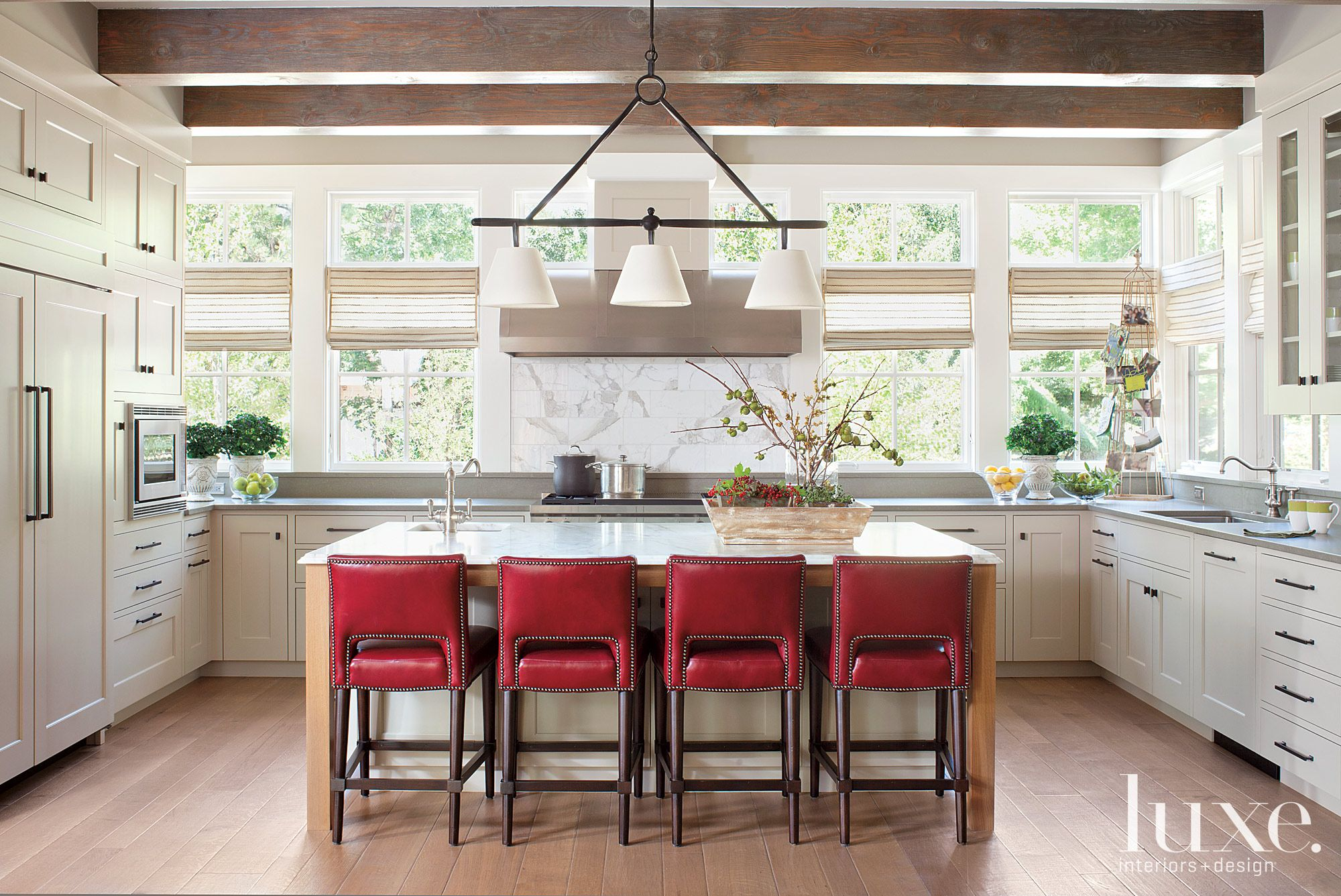Contemporary Kitchen with Exposed Beam Ceiling