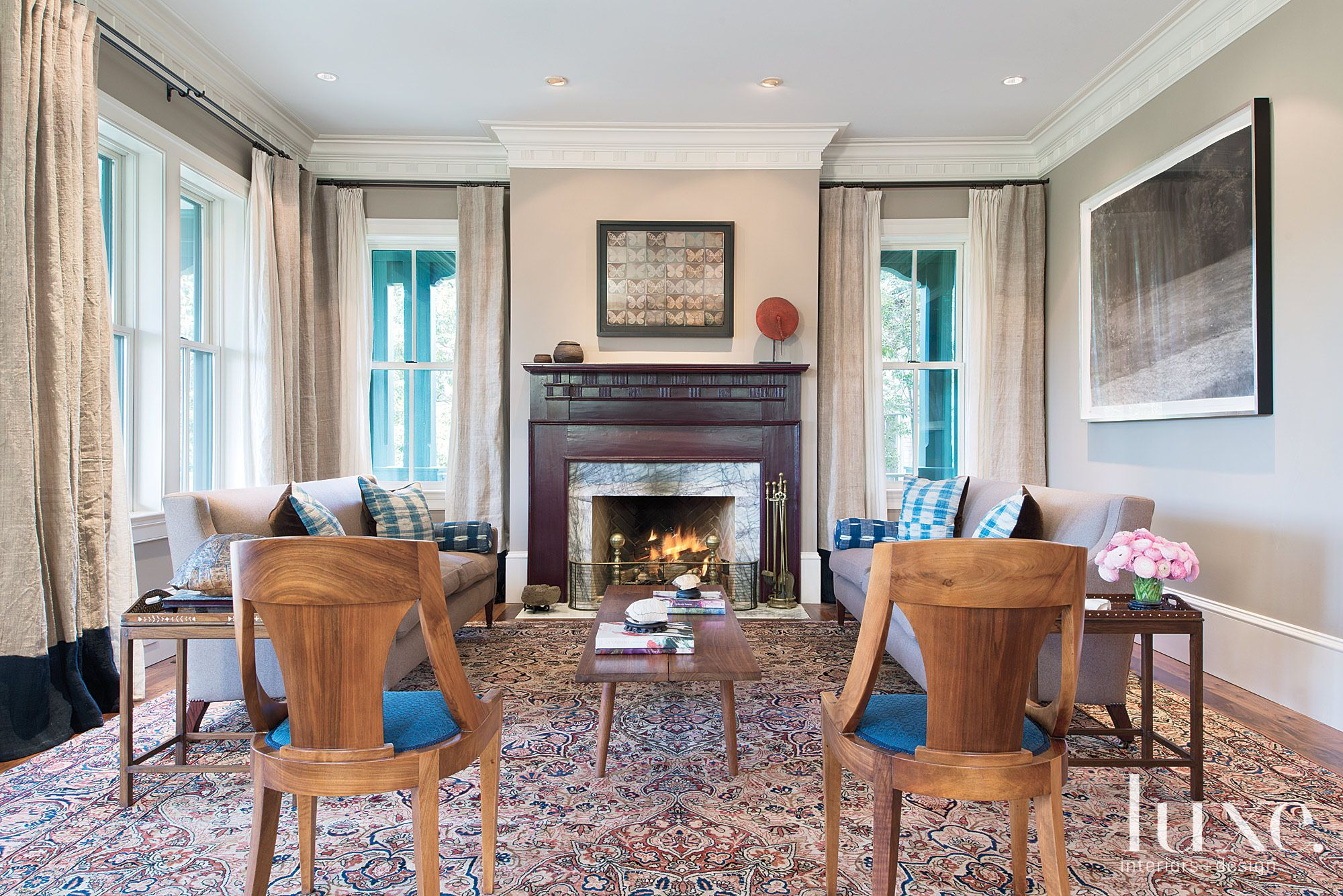 Neutral Transitional Living Room with Persian Carpet