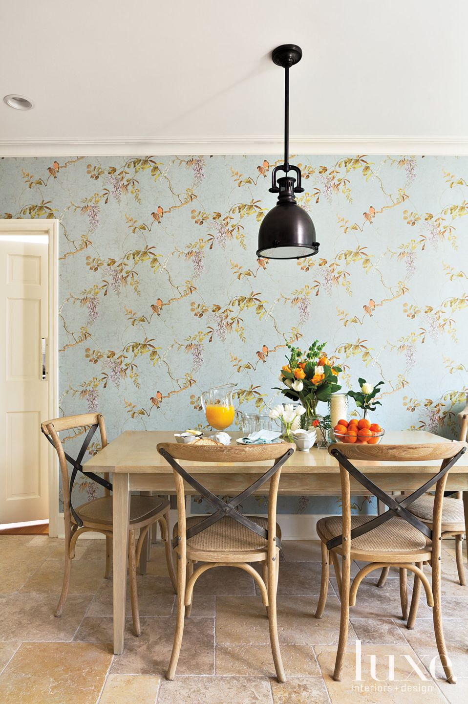 Transitional Blue Breakfast Nook with Floral Wallpaper