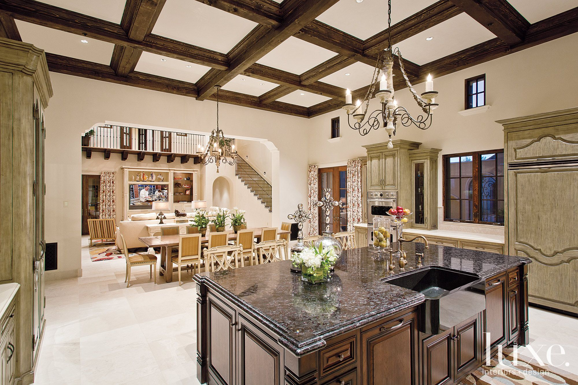Traditional Neutral Kitchen with Black Granite Island