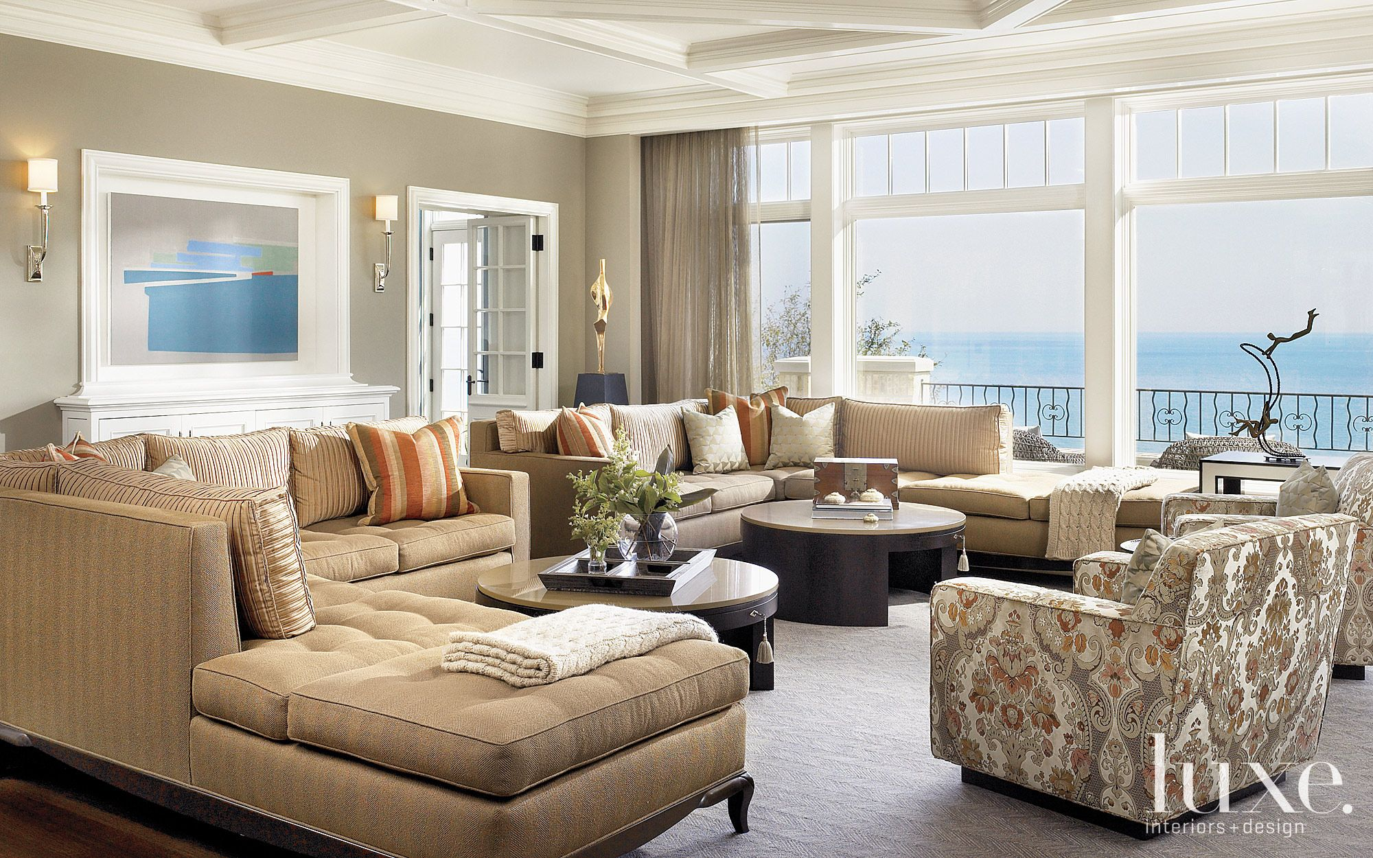 Contemporary Cream Living Room with Lake Views