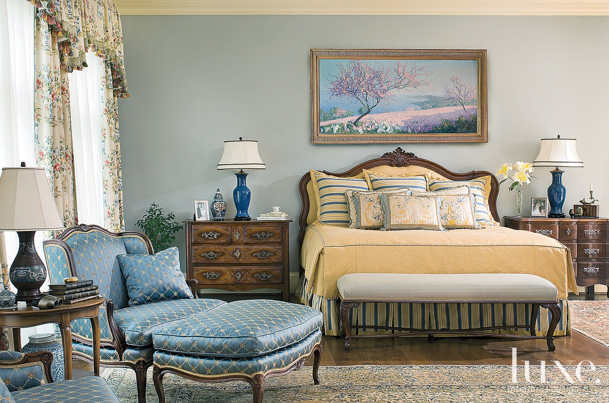 Blue Country French Master Bedroom