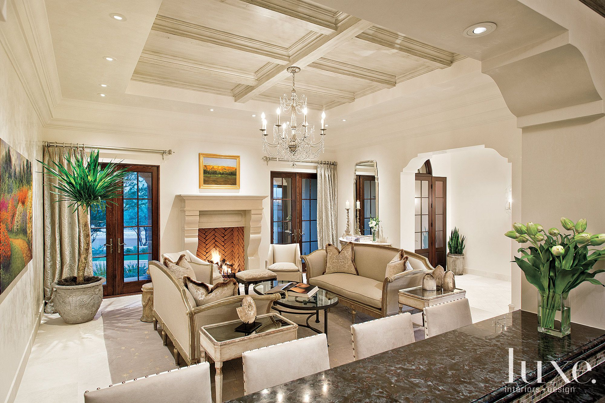Traditional Neutral Living Room with Limestone Fireplace