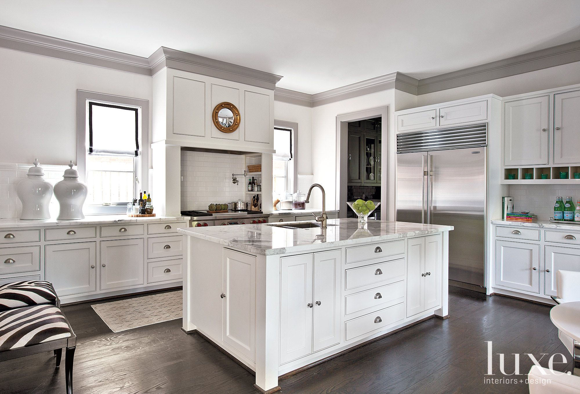 White Traditional French-Revival Kitchen