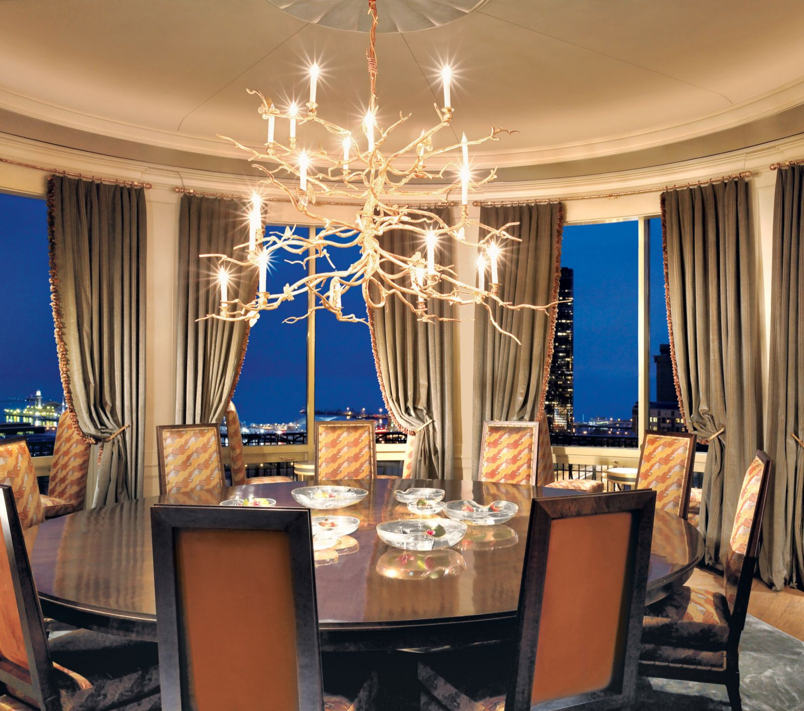 Traditional Neutral Dining Room with Branch Chandelier