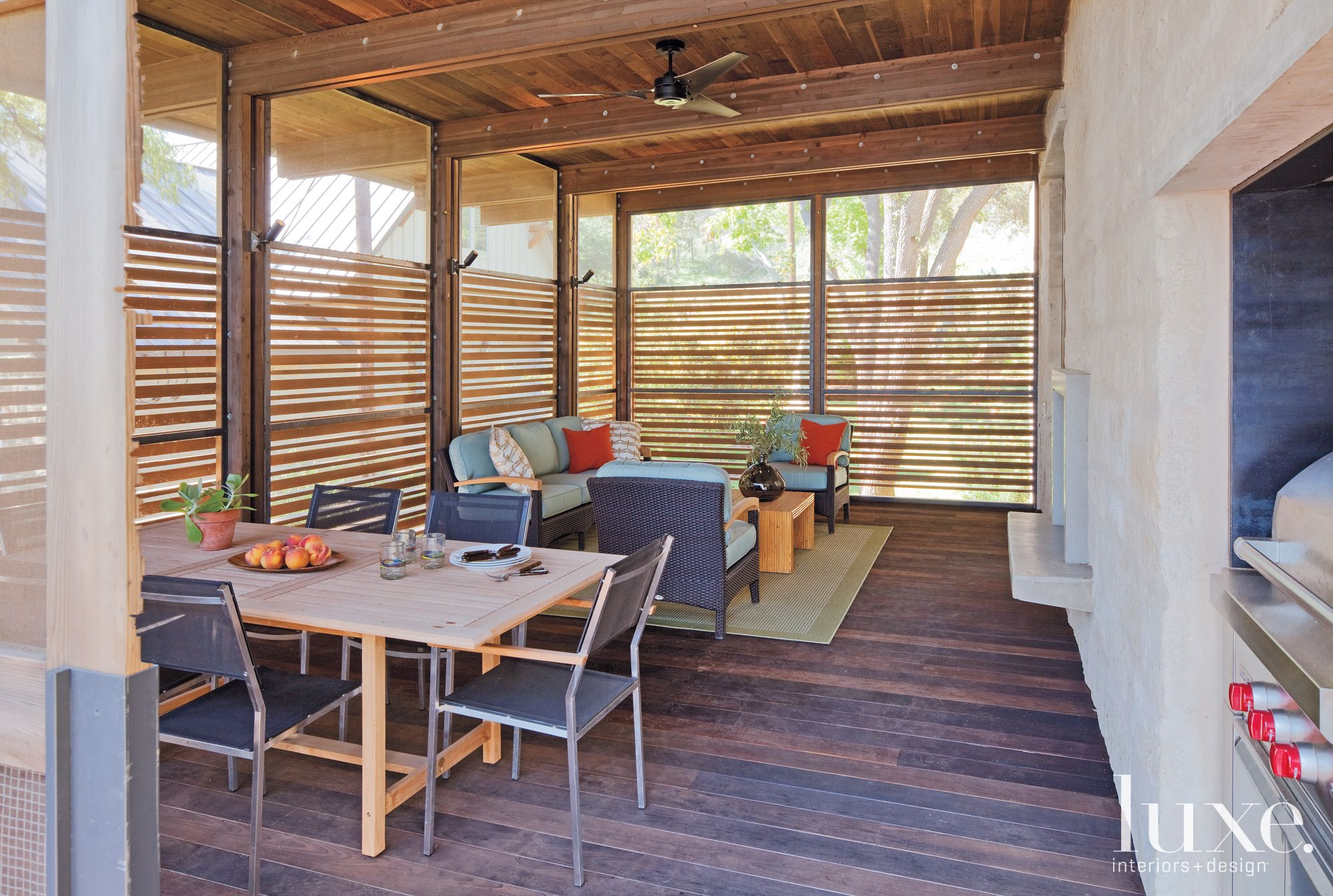 Contemporary Wood Screened Dining and Seating Area