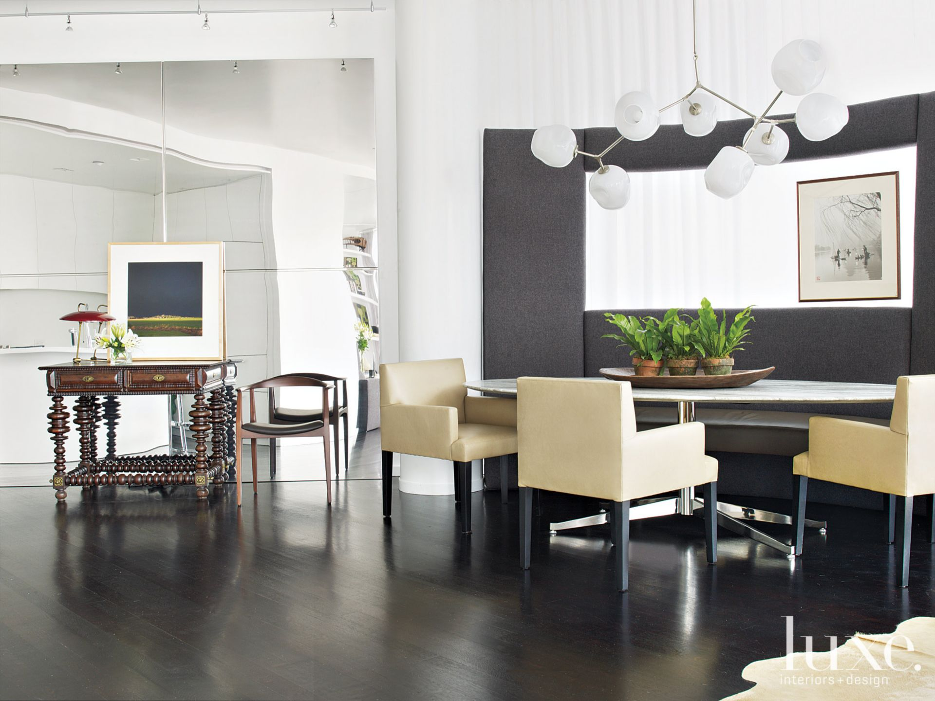 Metallic Modern Dining Room with Antique Table
