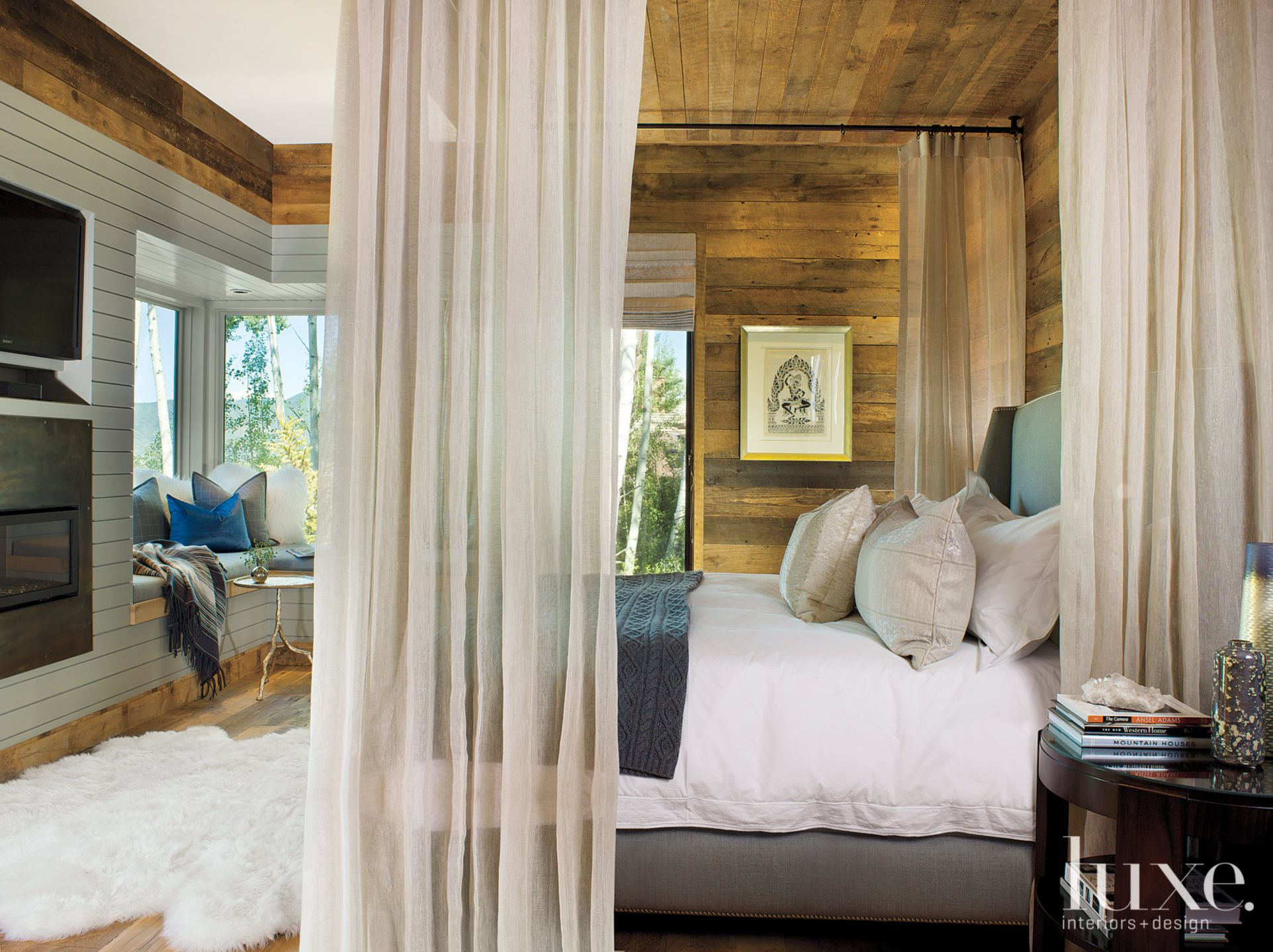 Mountain Neutral Bedroom with Rustic Wood-Paneled Walls