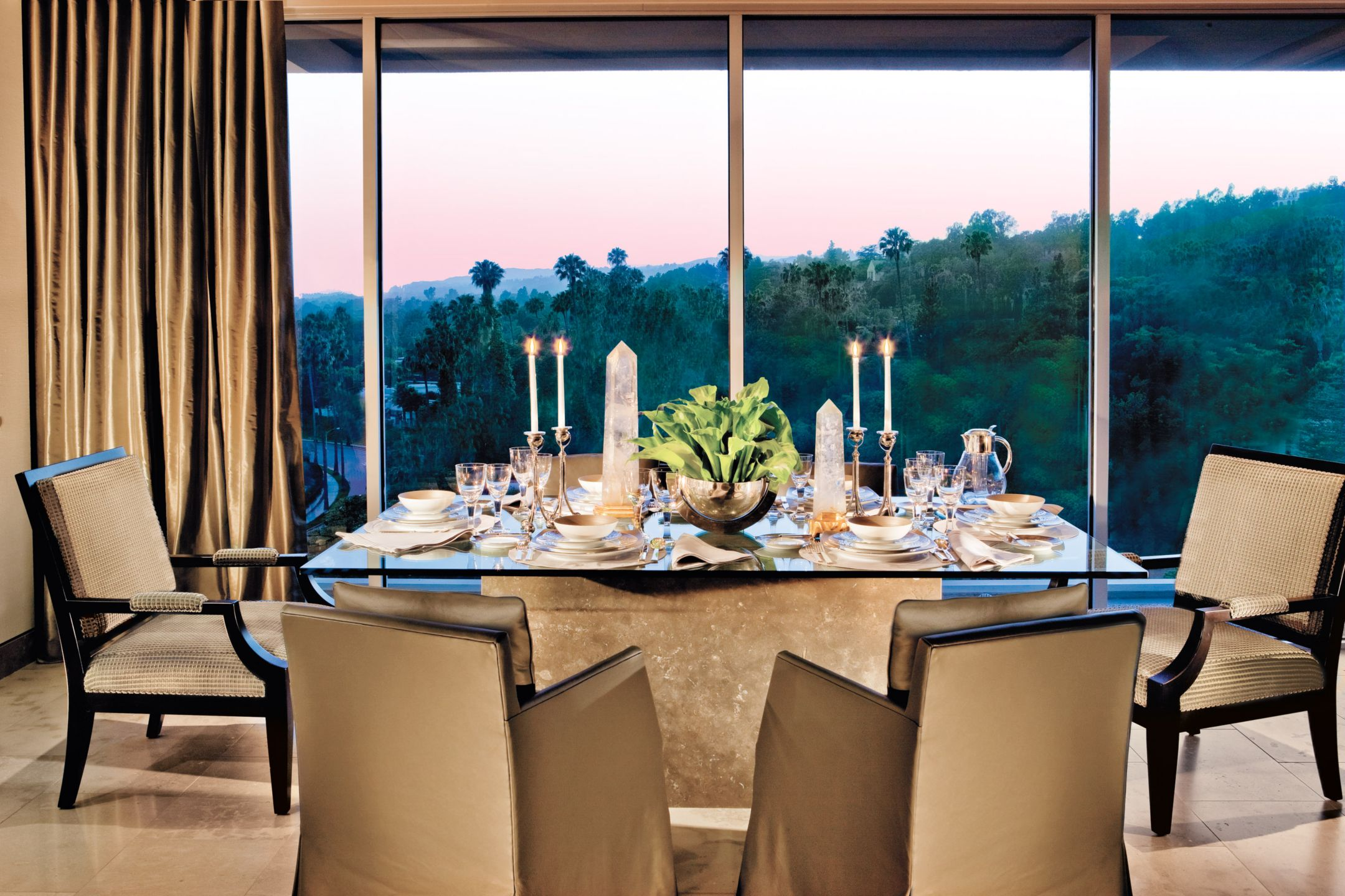 Contemporary Yellow Dining Room with View