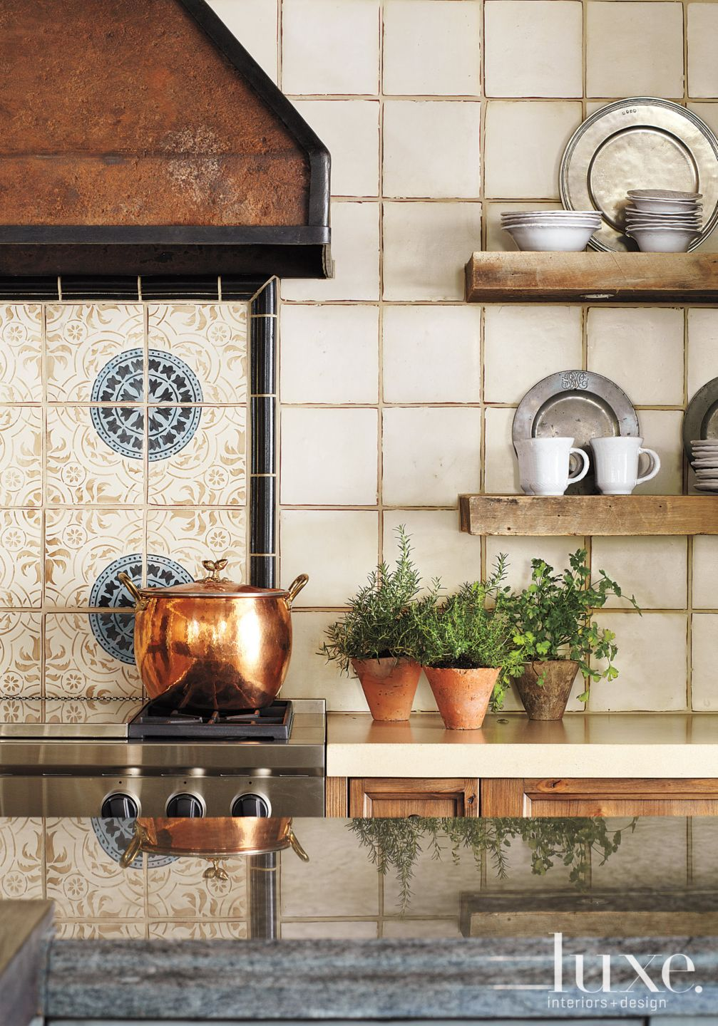 Neutral Mountain Kitchen Handmade Tile Backsplash