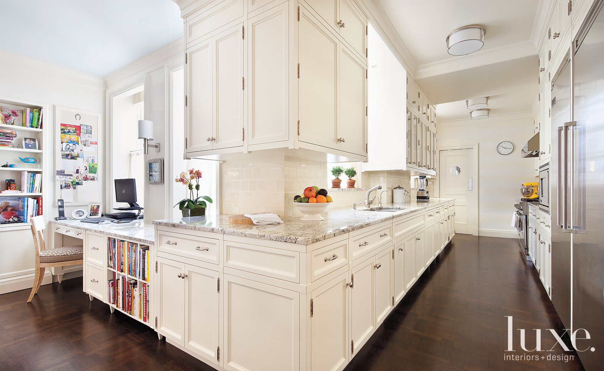 Traditional White Kitchen with Desk & Workspace