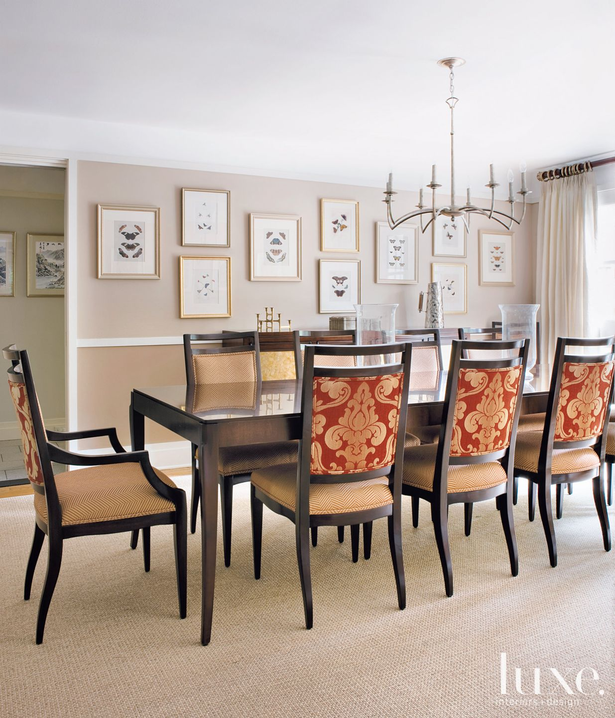 Transitional Neutral Dining Room with Maple-and-Walnut Table