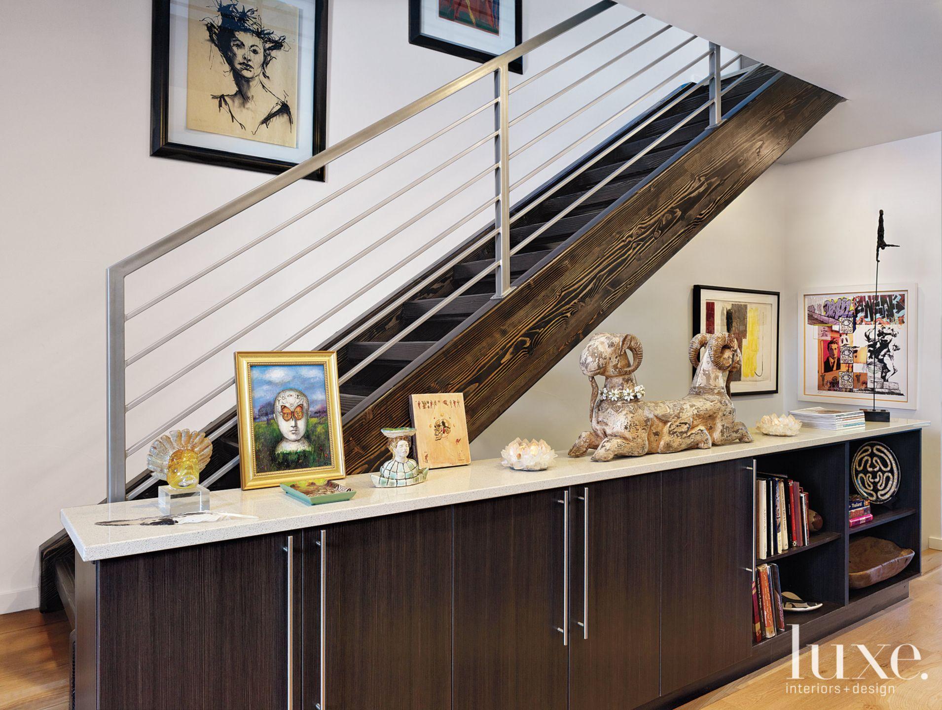 Modern Stairway With Built-in Storage