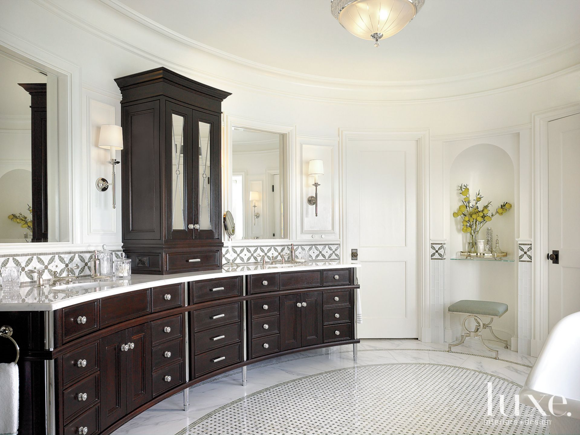 Contemporary White Bathroom with Oval Plan
