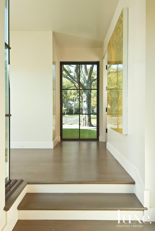 Transitional Floor-to-Ceiling Window in Hallway