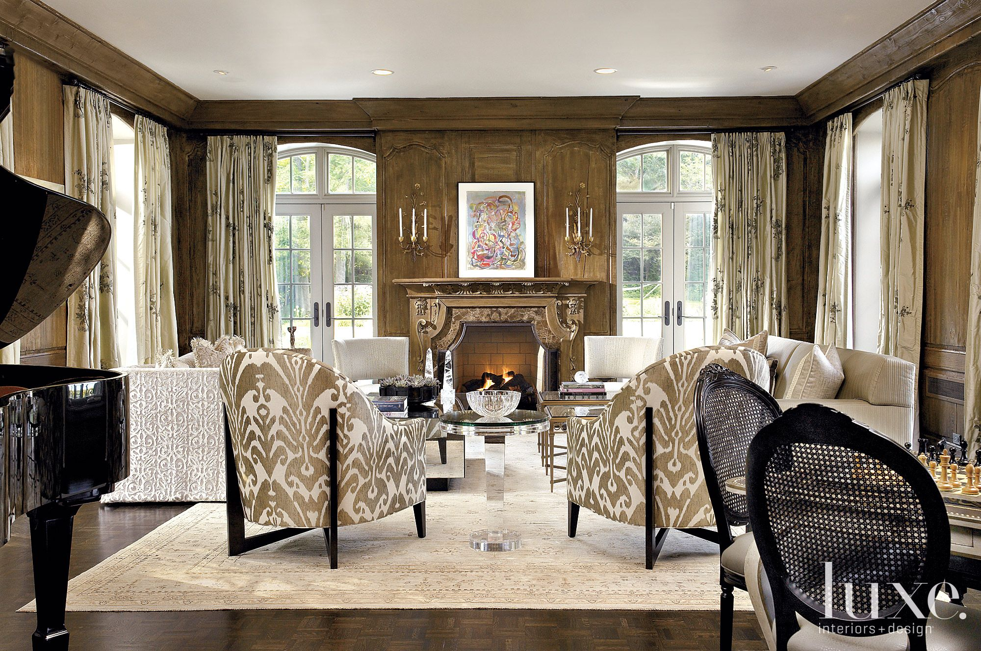 Contemporary Brown Living Room with Detailed Mantel