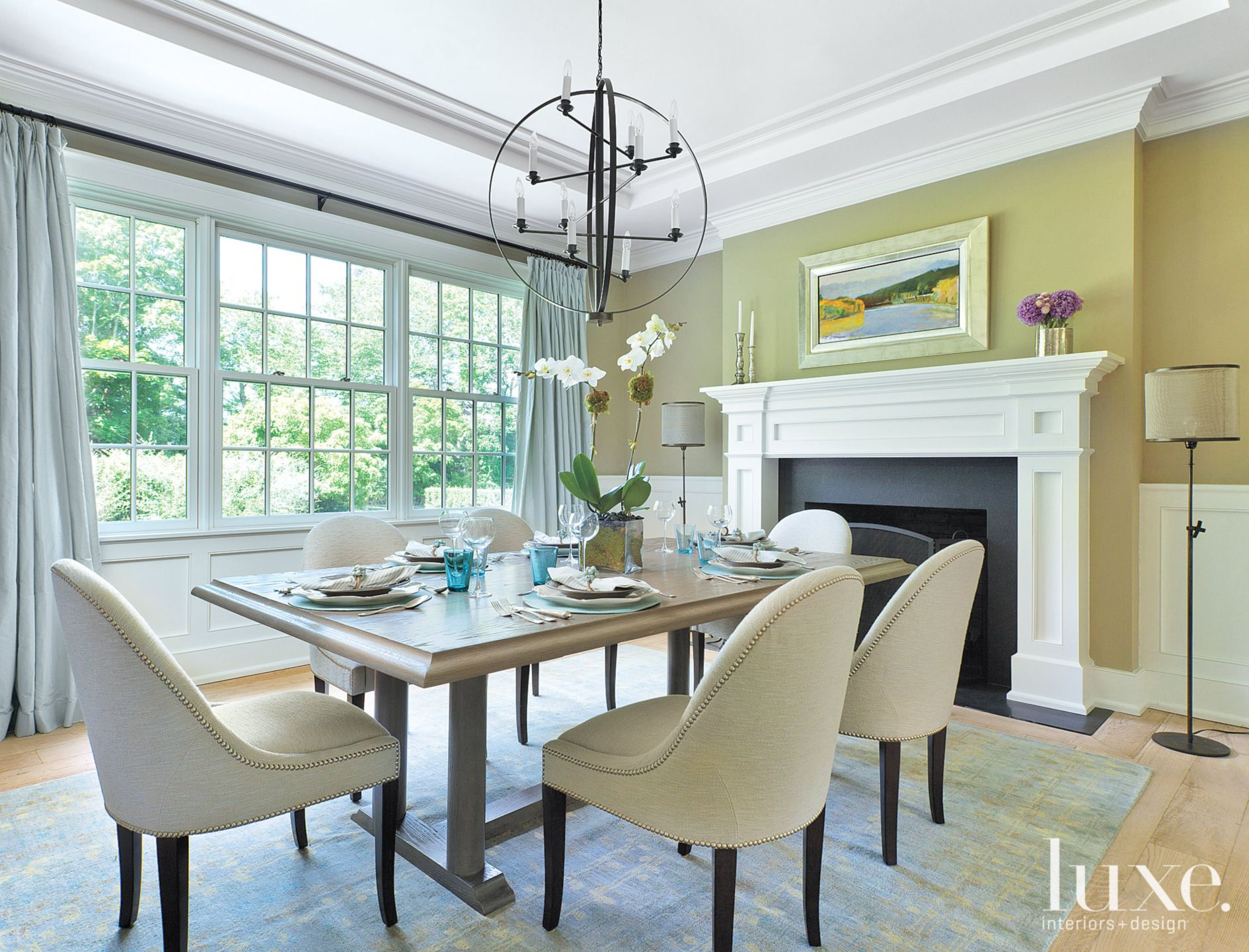 Traditional Green Dining Room with Spherical Chandelier