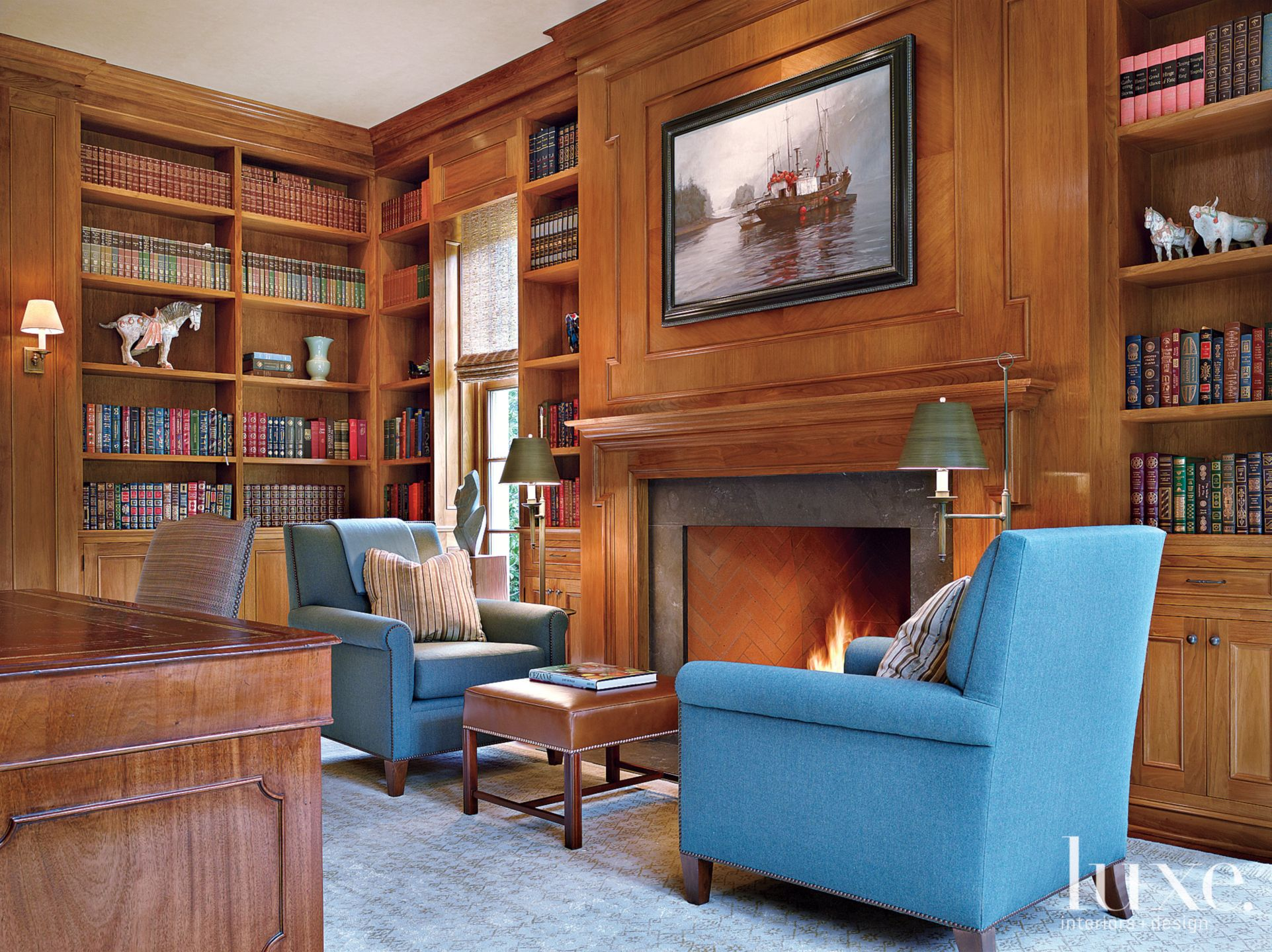 Traditional Neutral Library with Lacquered Walnut Walls