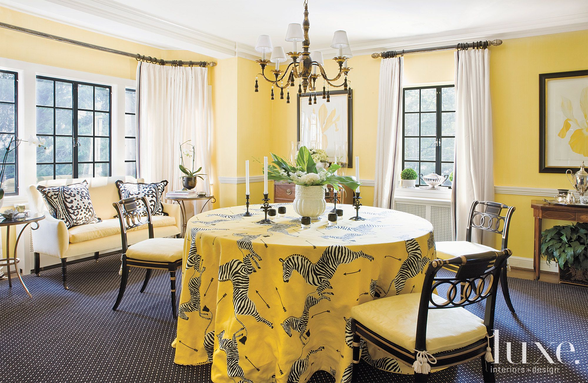 Eclectic Yellow Dining Room