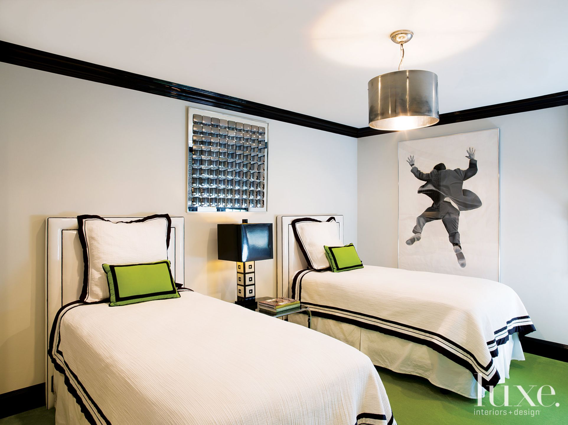 Eclectic Lime-Accented Guest Bedroom