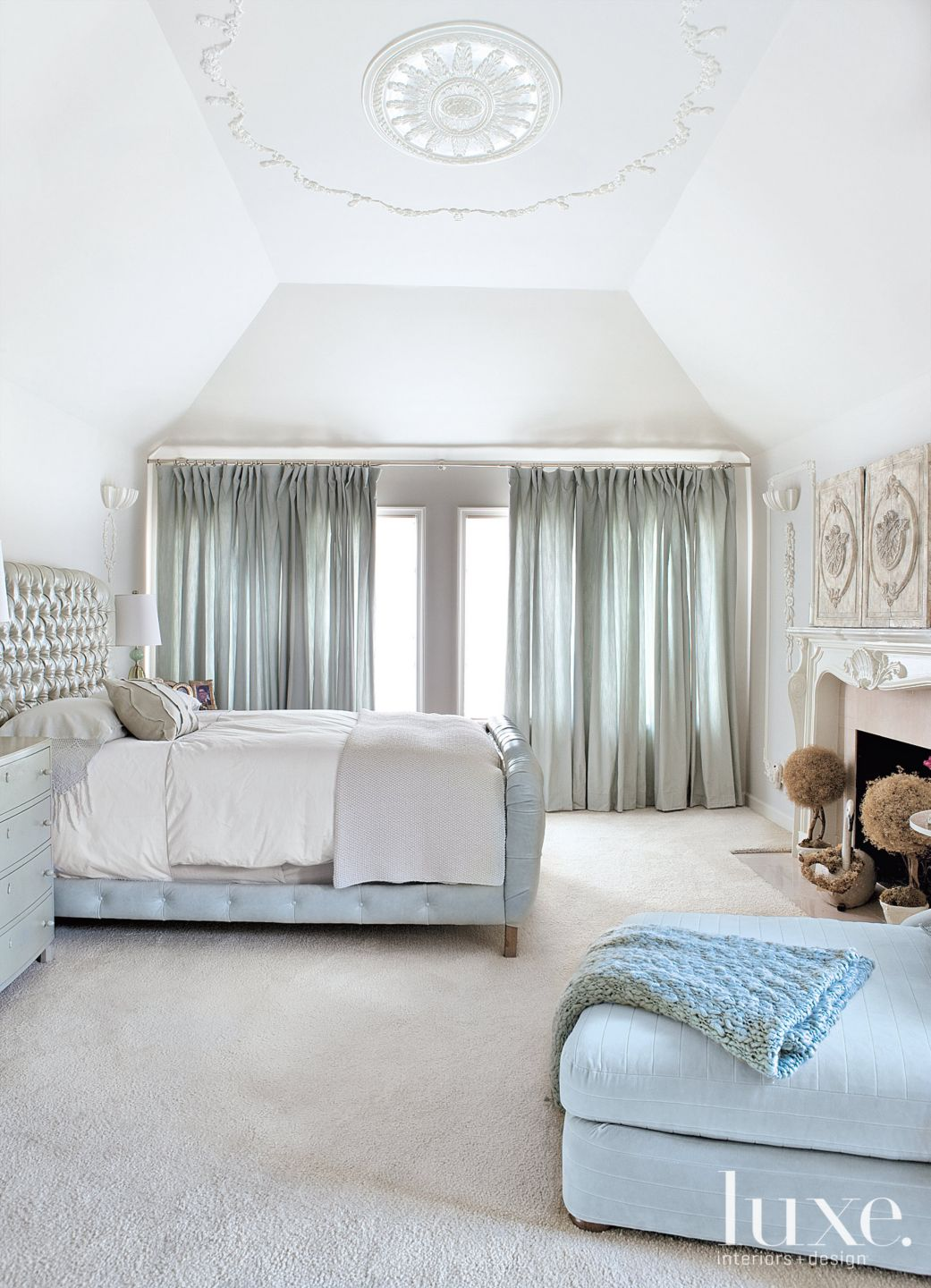 White Transitional Bedroom with Pale Blue Accents