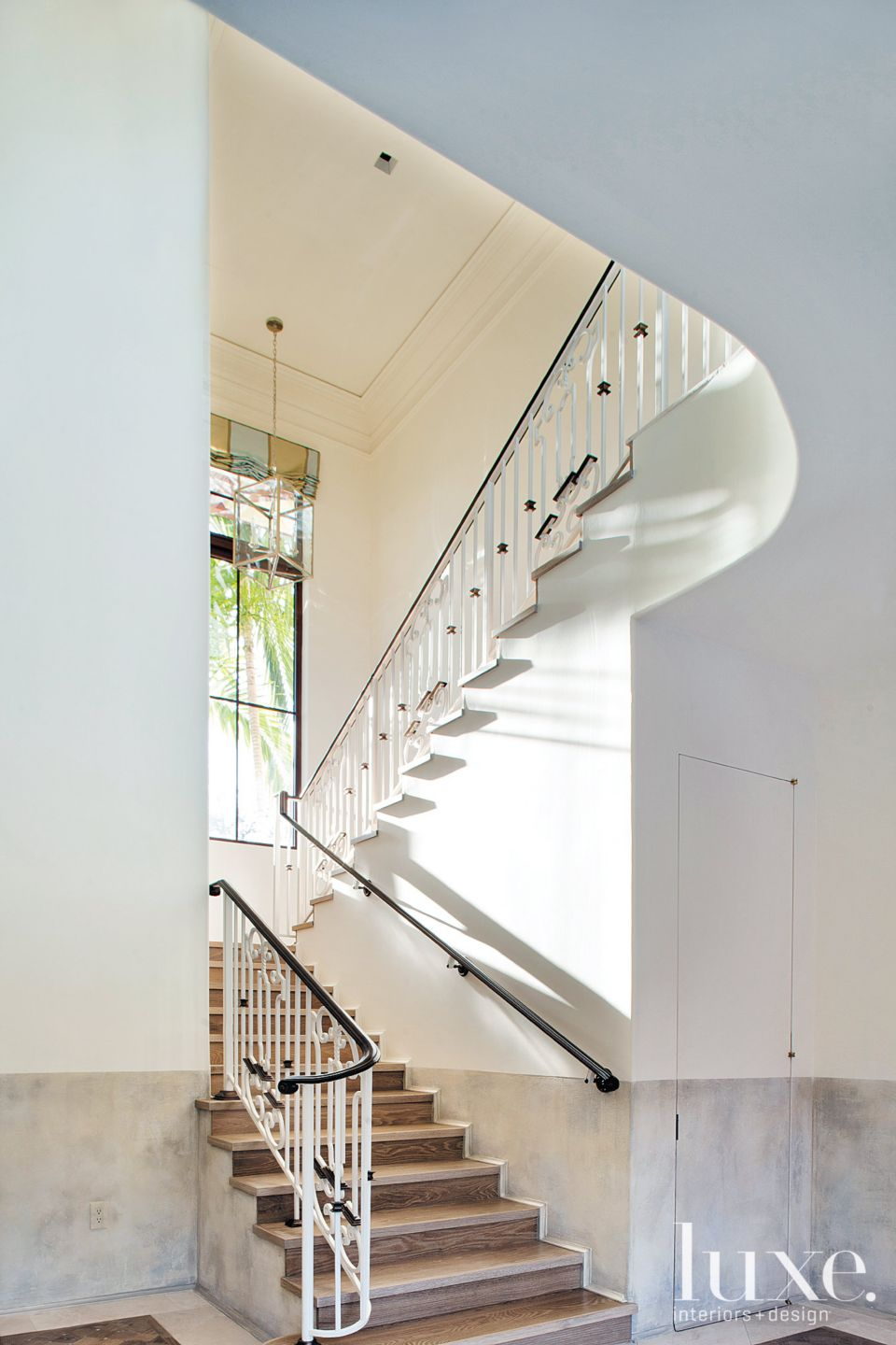 Transitional White Staircase