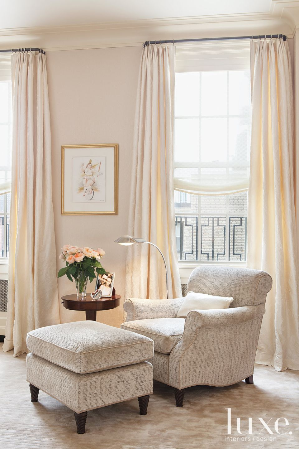 Contemporary Cream Reading Corner with Chenille Armchair
